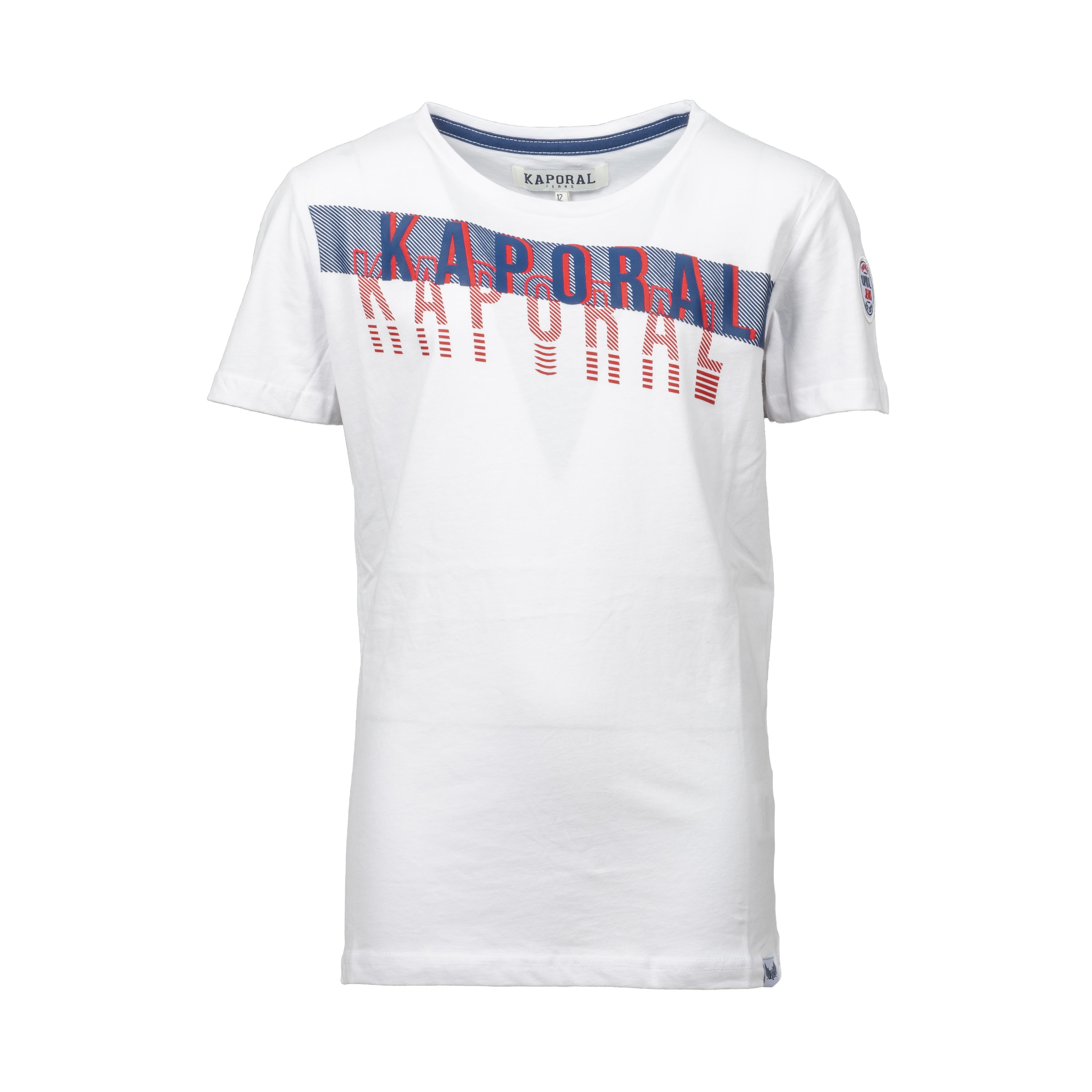 Tee-shirt col rond kaporal elvis en coton blanc imprimé