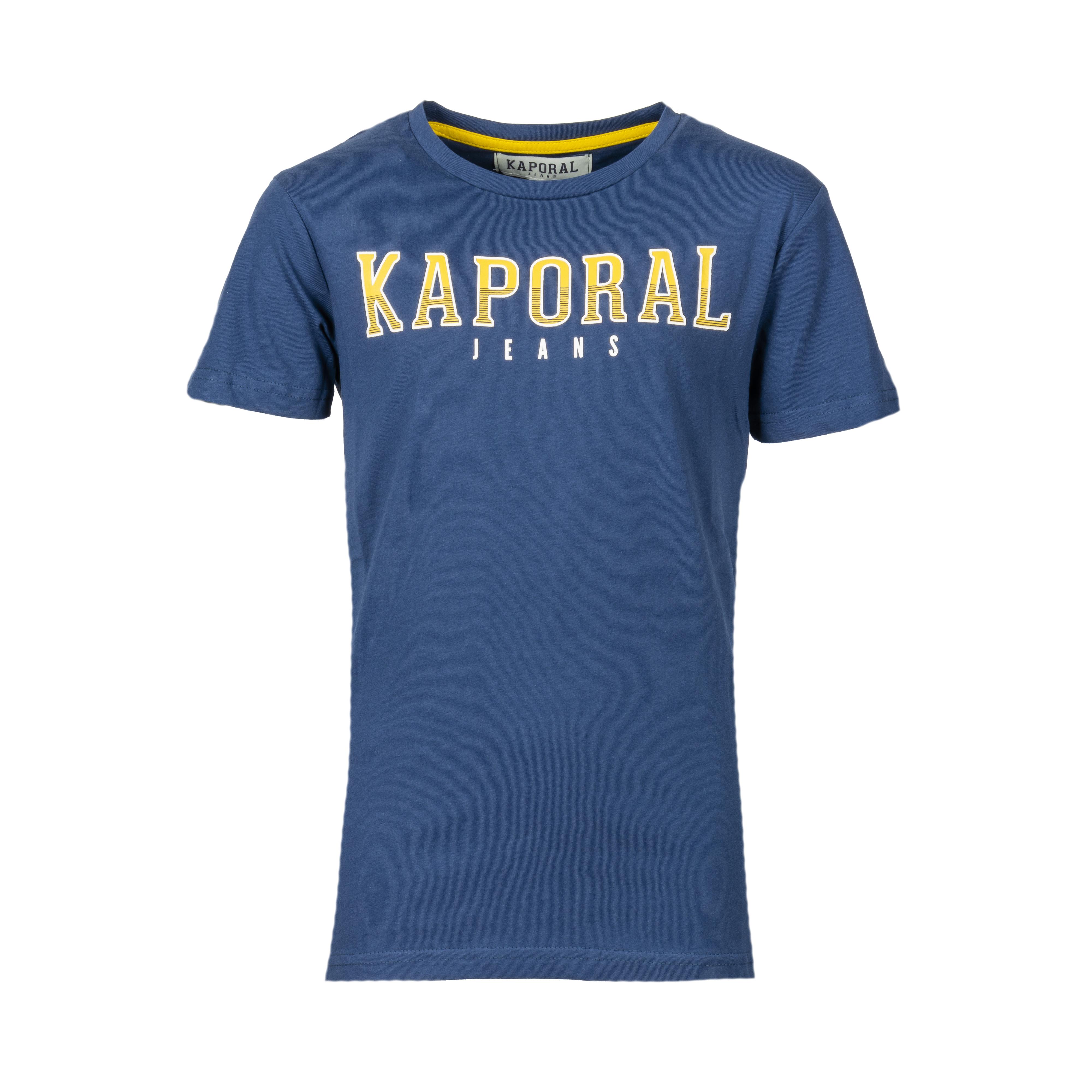Tee-shirt col rond kaporal enard en coton bleu marine imprimé jaune