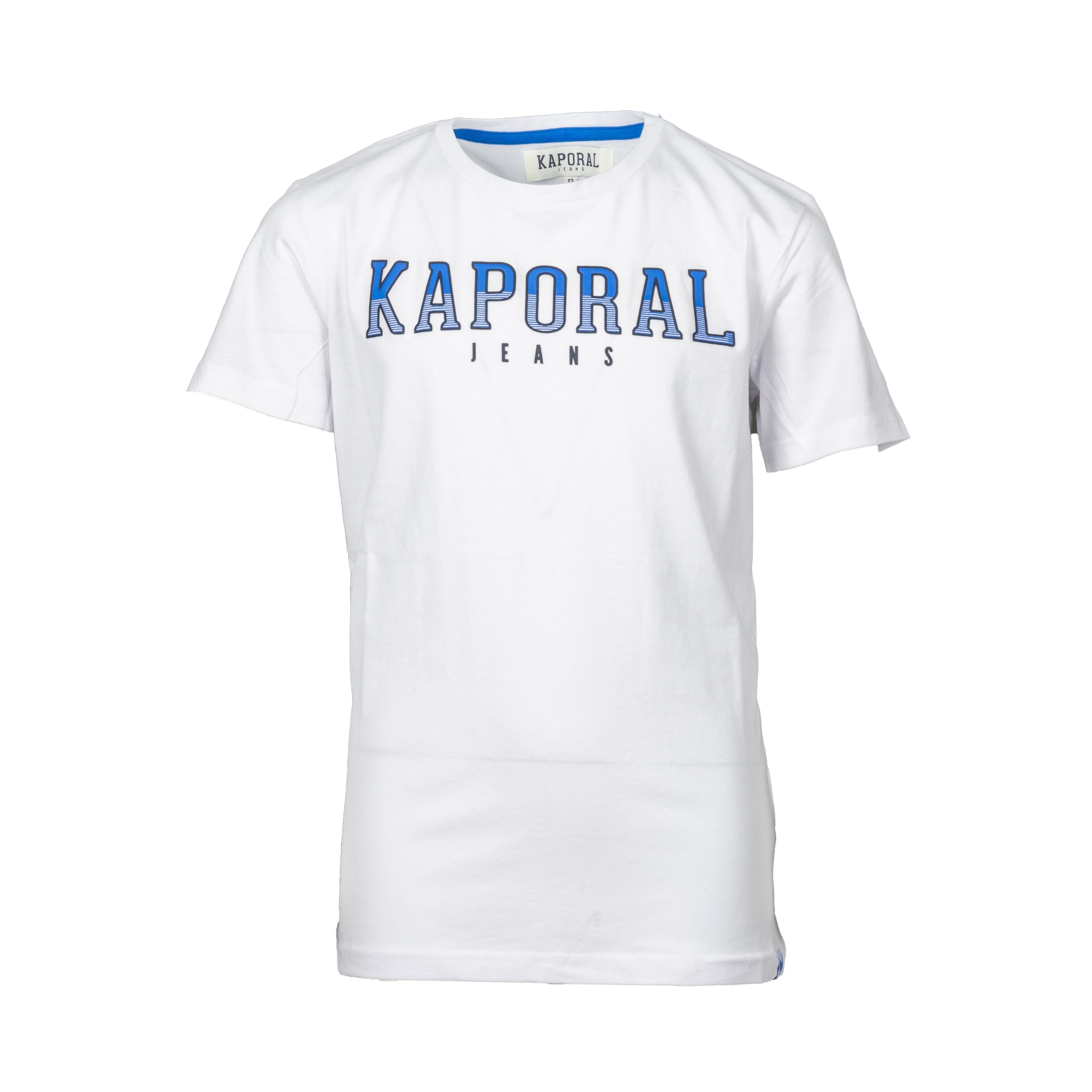 Tee-shirt col rond kaporal enard en coton blanc imprimé