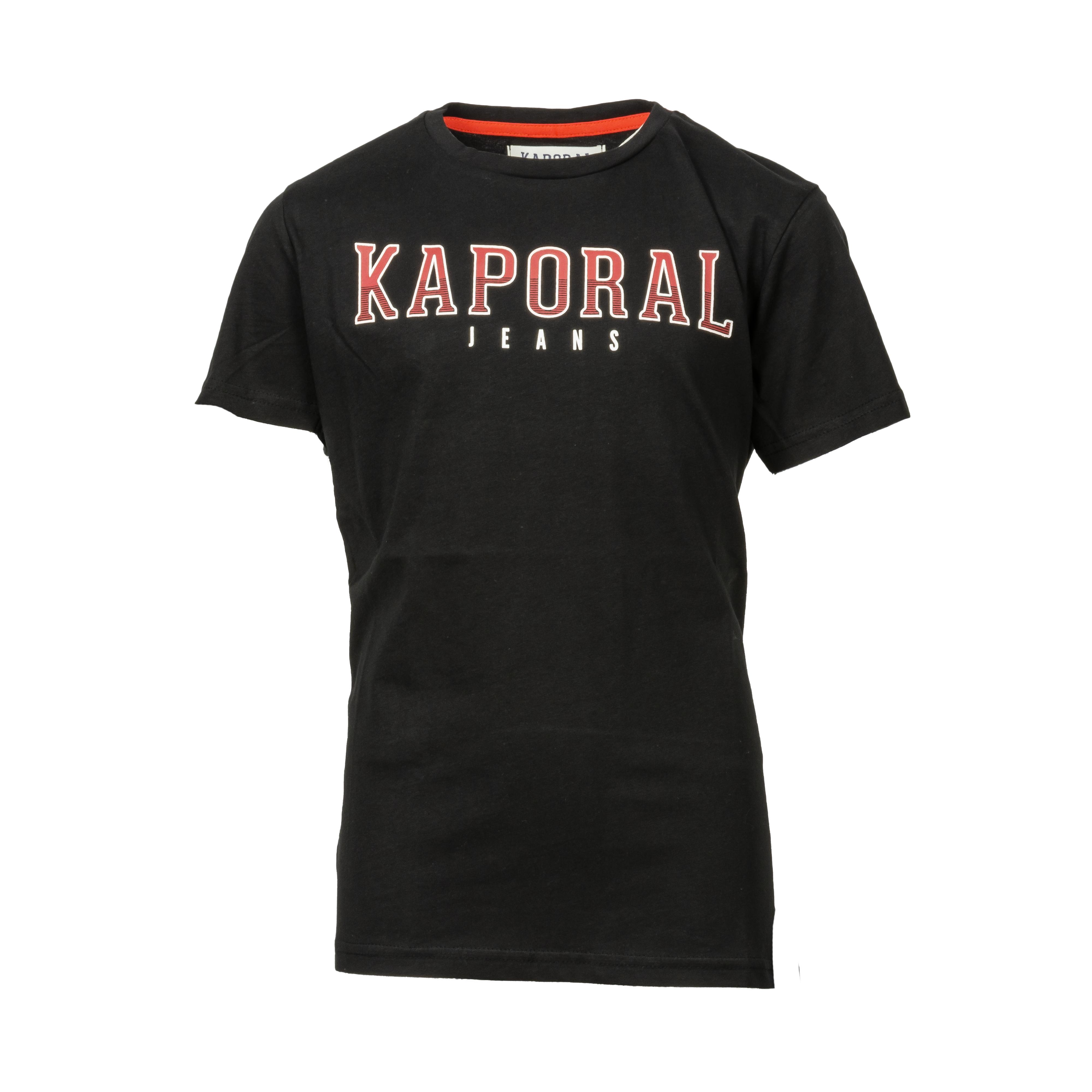 Tee-shirt col rond kaporal enard en coton noir imprimé