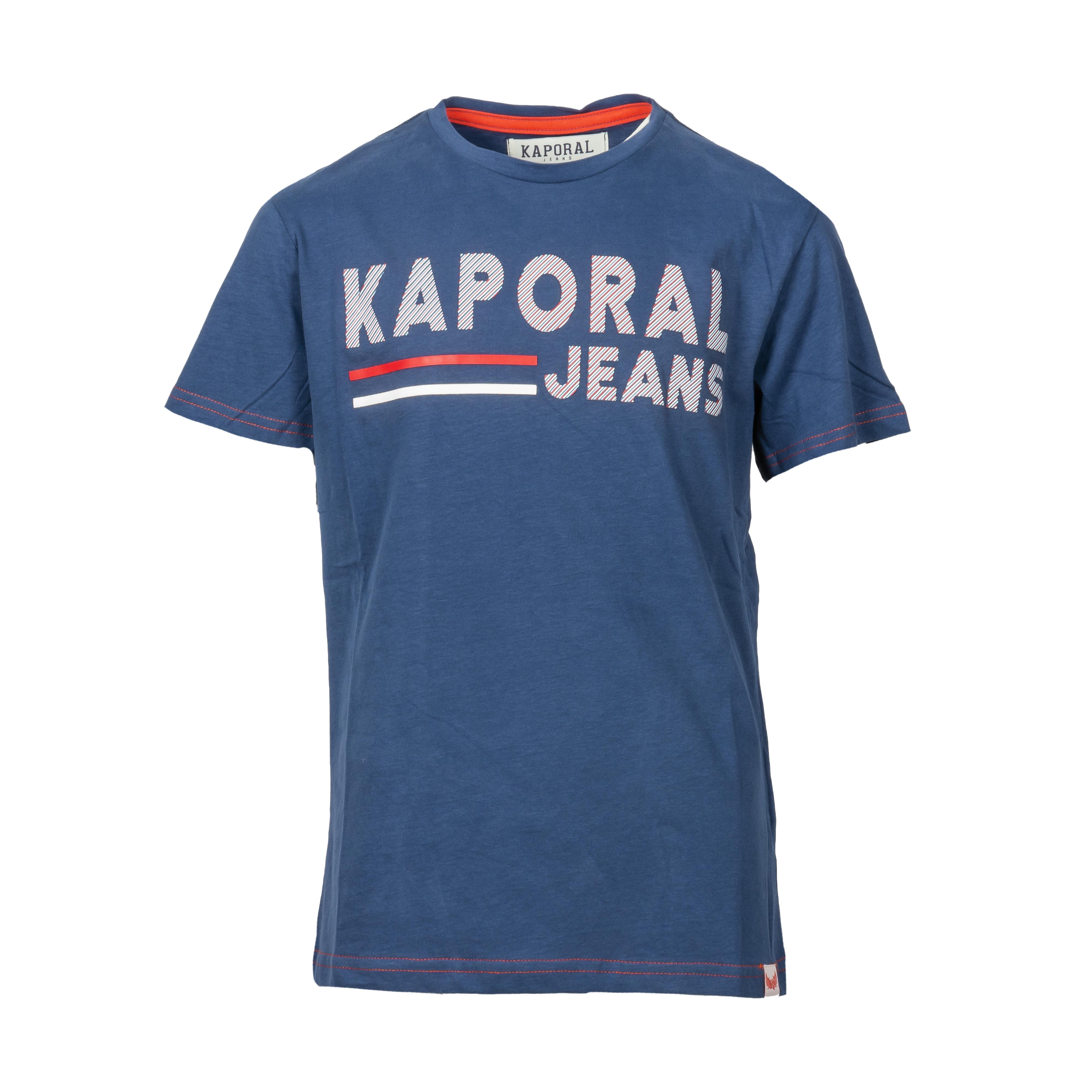 Tee-shirt col rond kaporal ezio en coton bleu imprimé