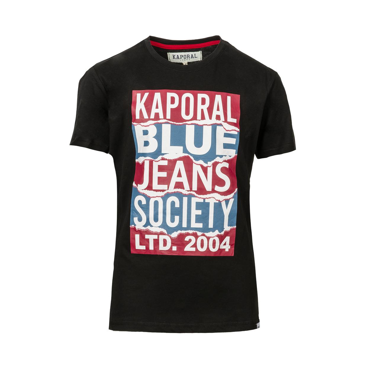 Tee-shirt col rond  oboy en coton noir floqué
