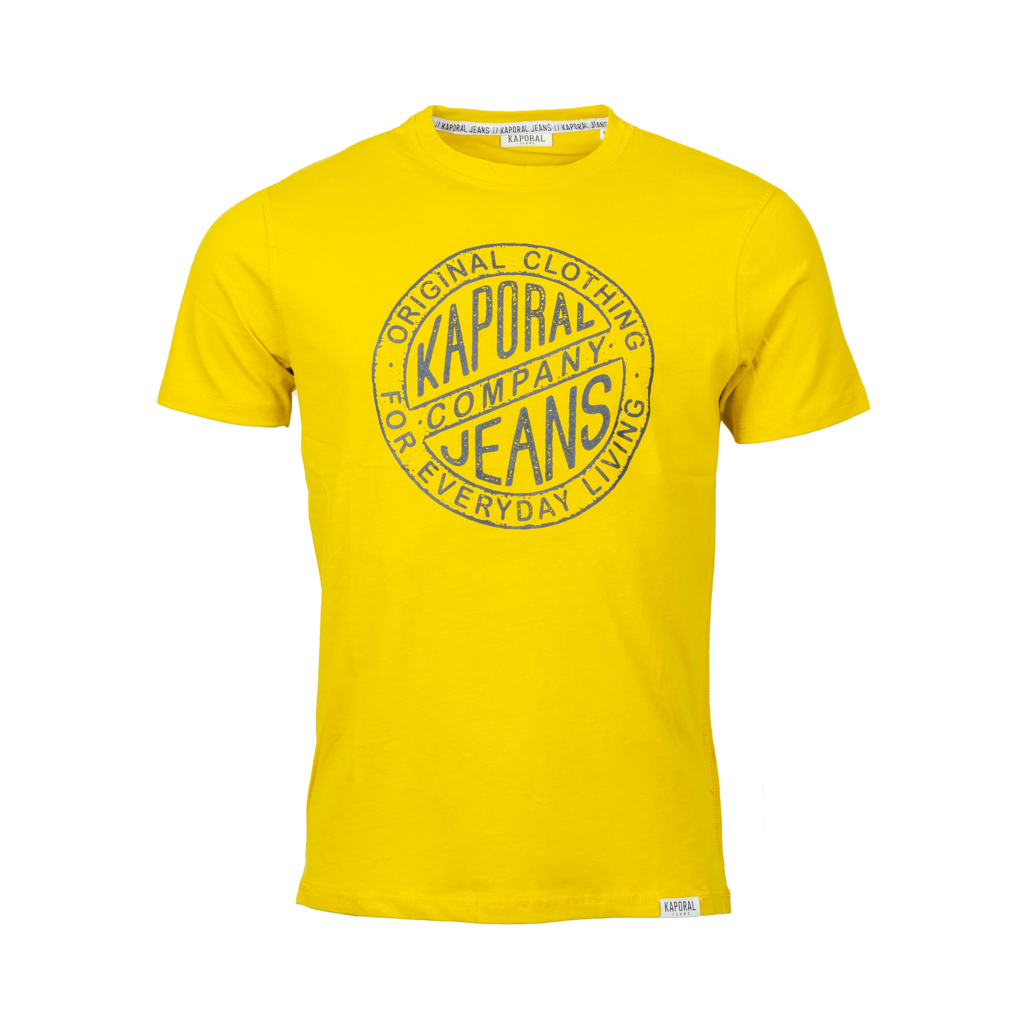 Tee-shirt col rond  tangi en coton jaune moutarde imprimé