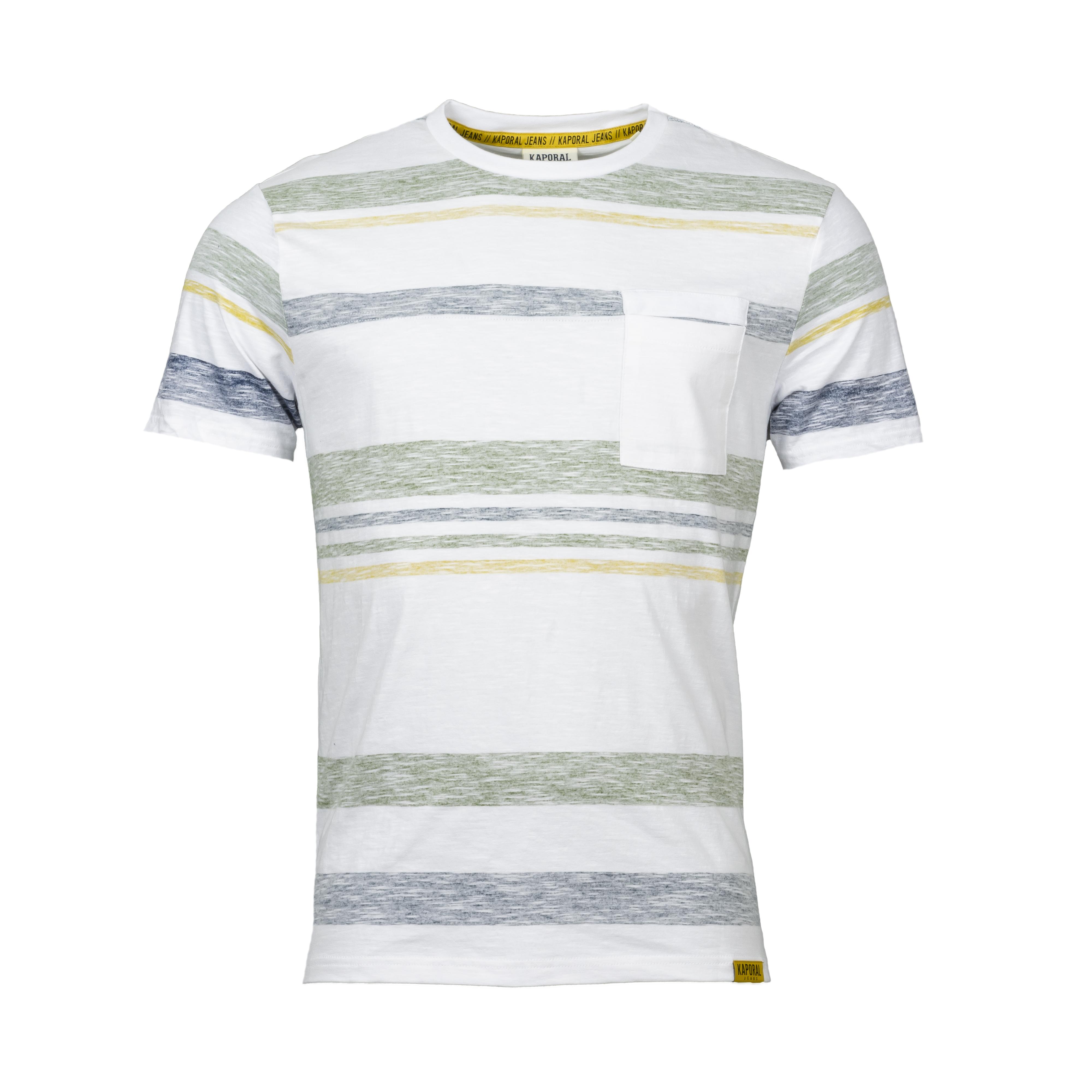 Tee-shirt col rond  tikkae en coton blanc rayé vert jaune et gris bleuté