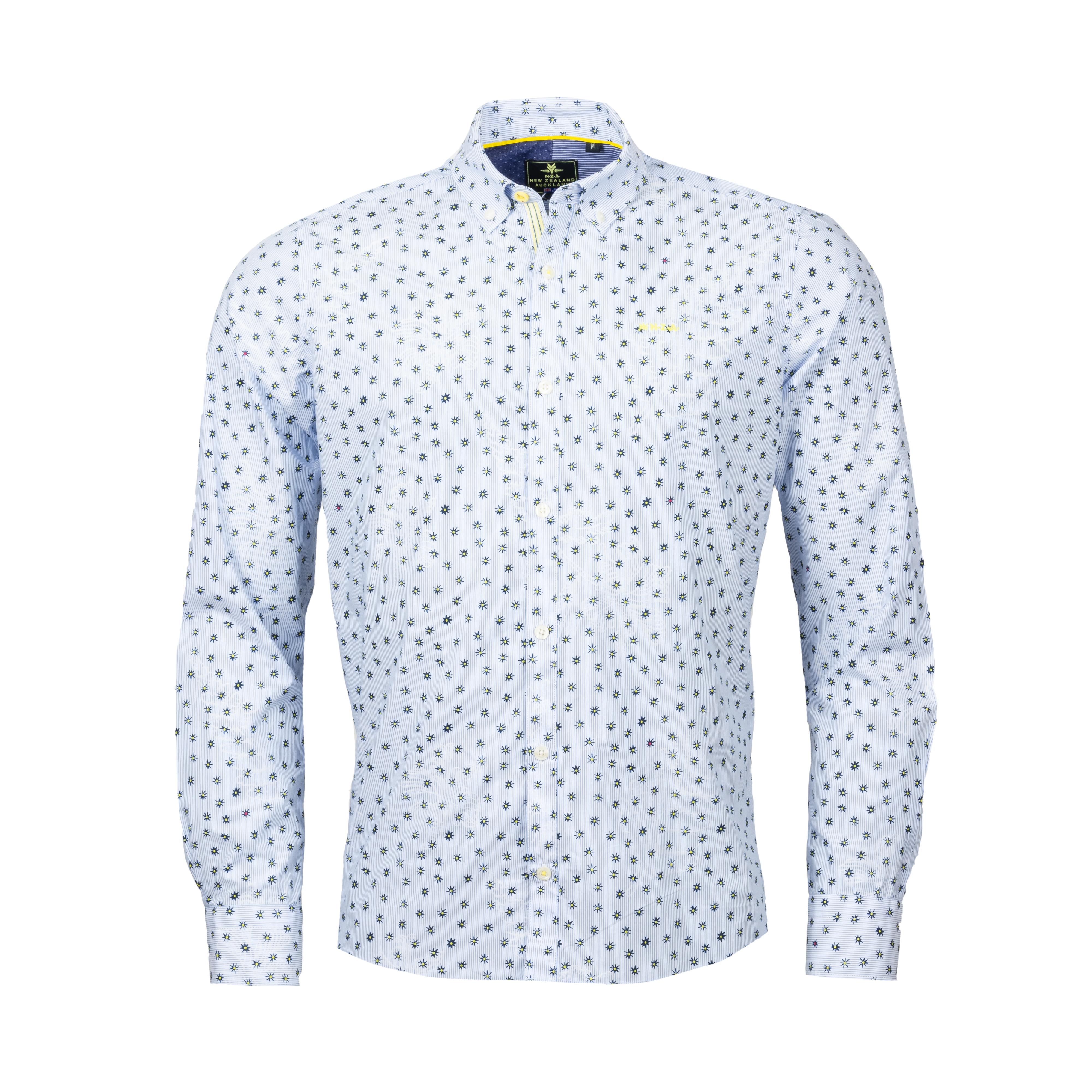 Chemise ajustée New Zealand Auckland Kaweka en coton bleu ciel à motifs noirs et jaunes