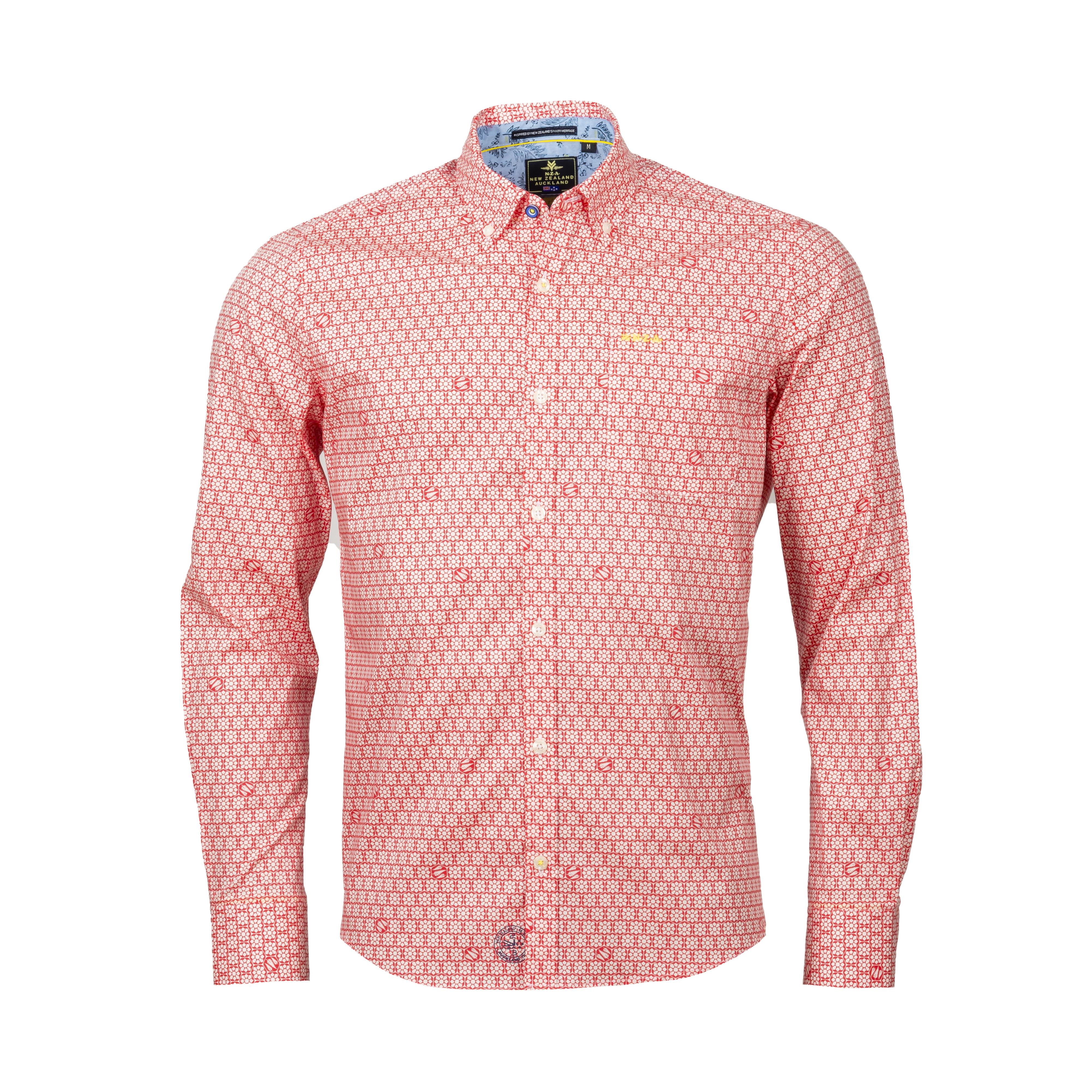 Chemise ajustée New Zealand Auckland Matakana en coton stretch rouge à motifs blancs