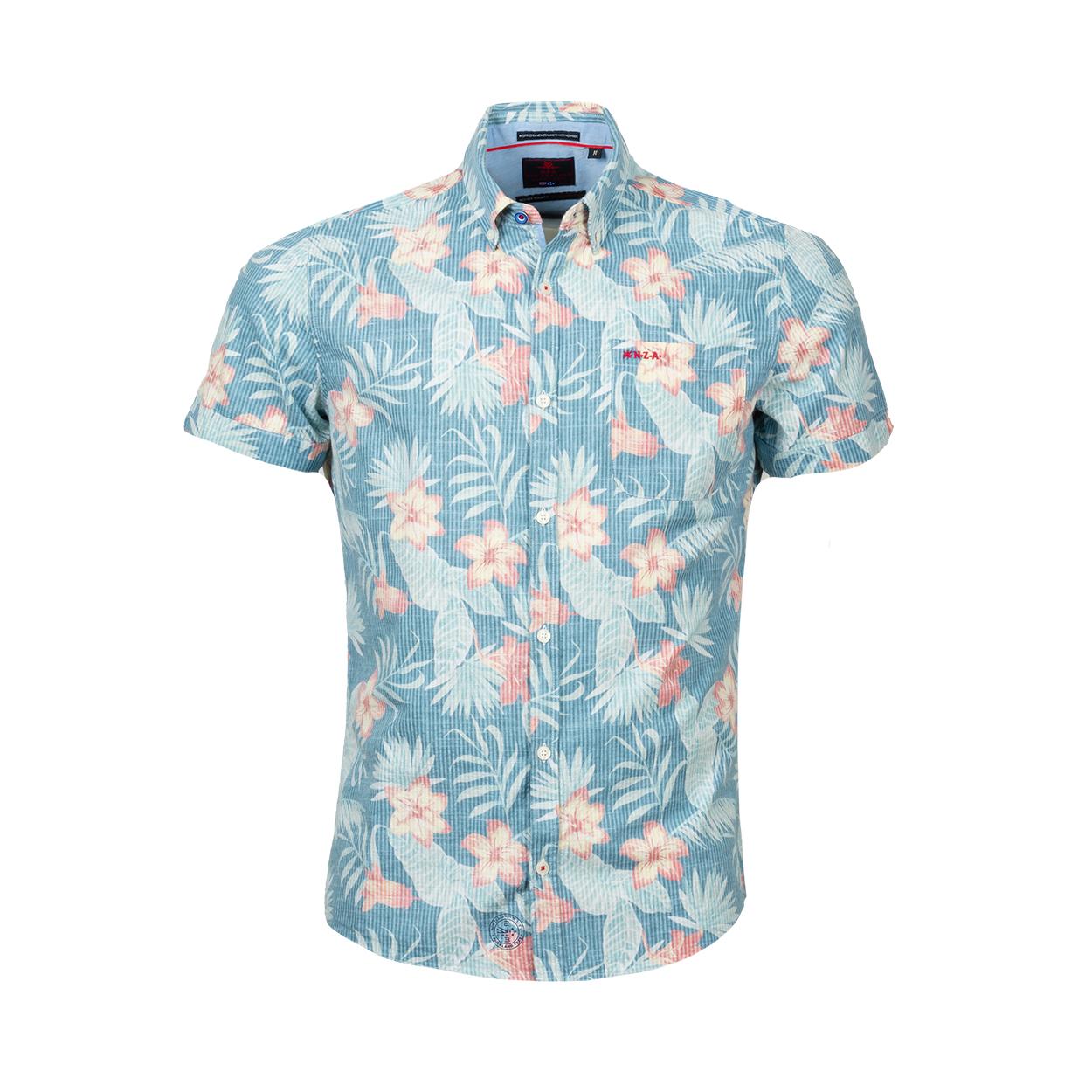Chemise ajustée manches courtes New Zealand Auckland Hamilton en coton bleu ciel à fleurs