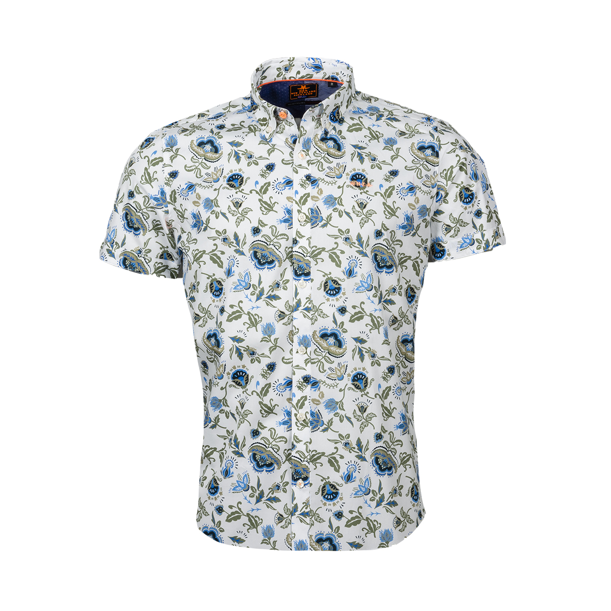 Chemise ajustée manches courtes NZA Havelock en coton stretch blanc à motifs bleus et vert kaki