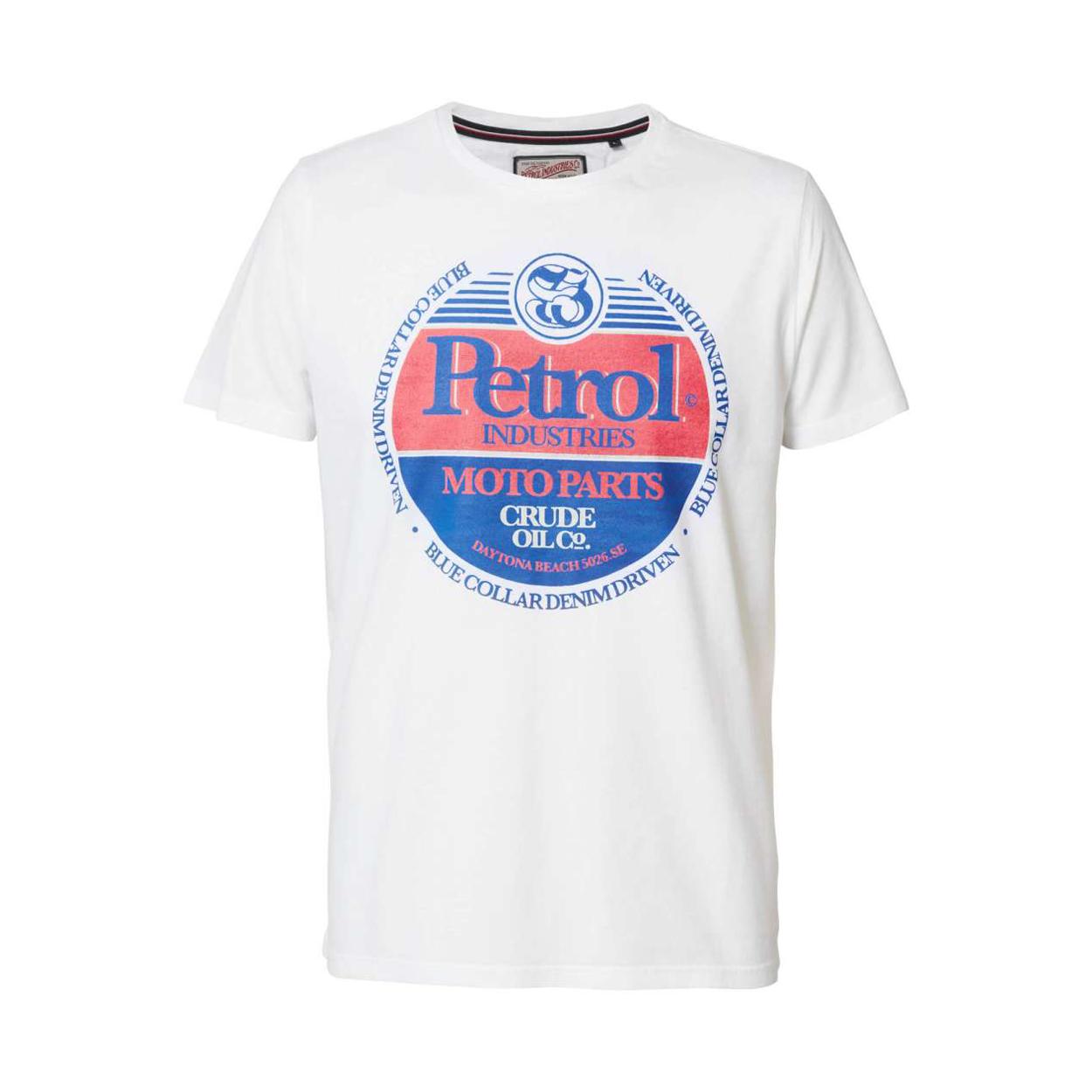 Tee-shirt col rond petrol industries en coton blanc floqué