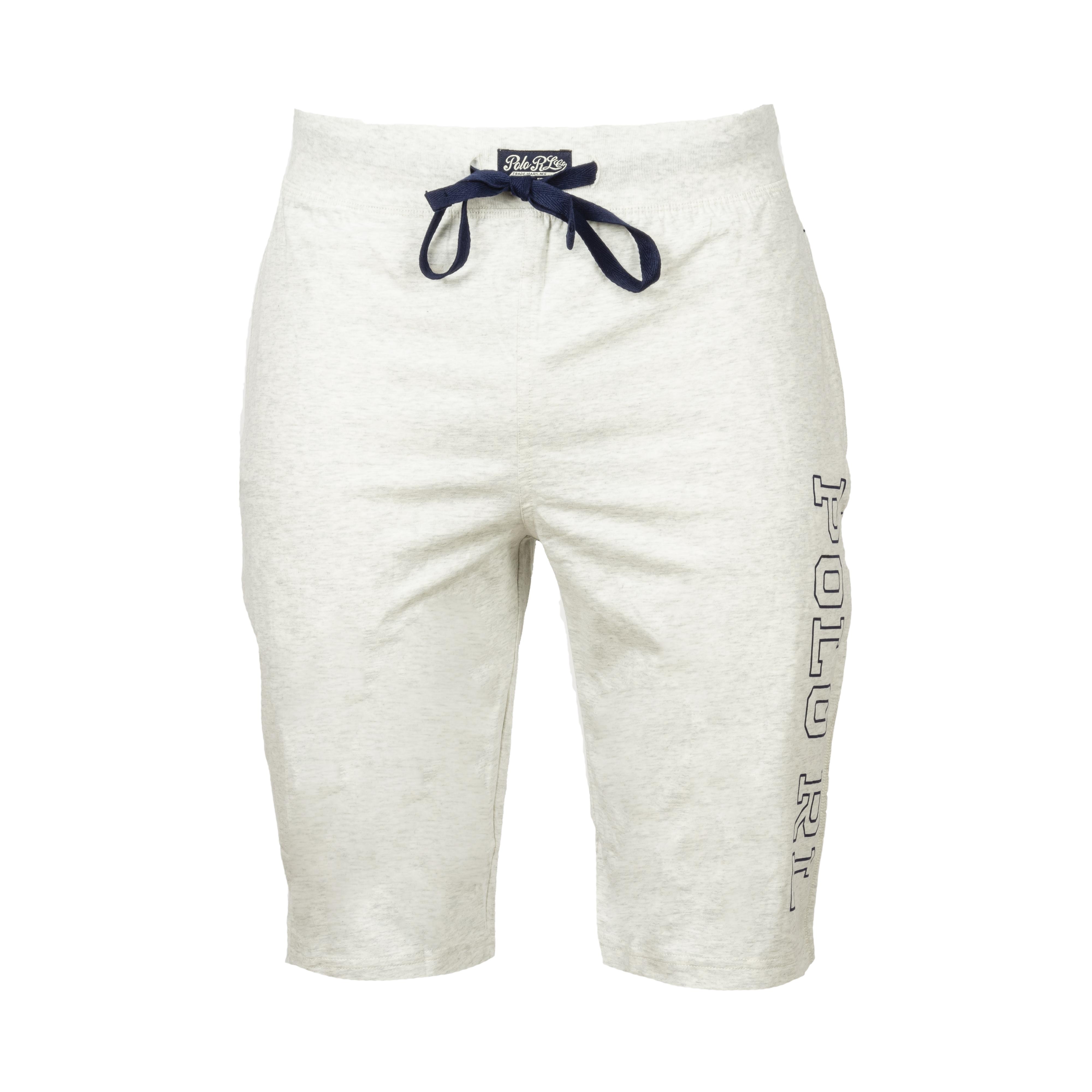 Short de pyjama  en coton gris chiné floqué