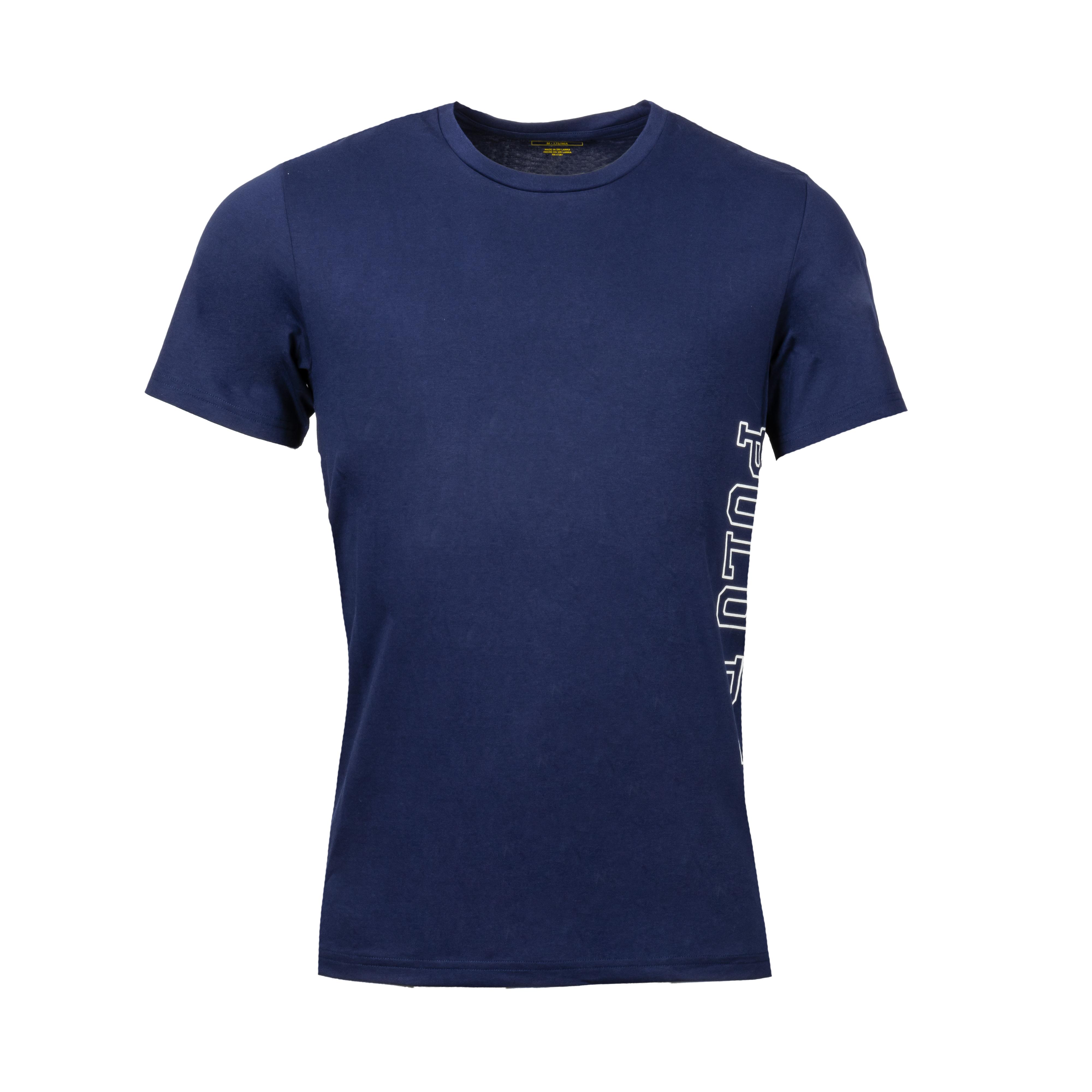Tee-shirt col rond  en coton bleu marine à logo