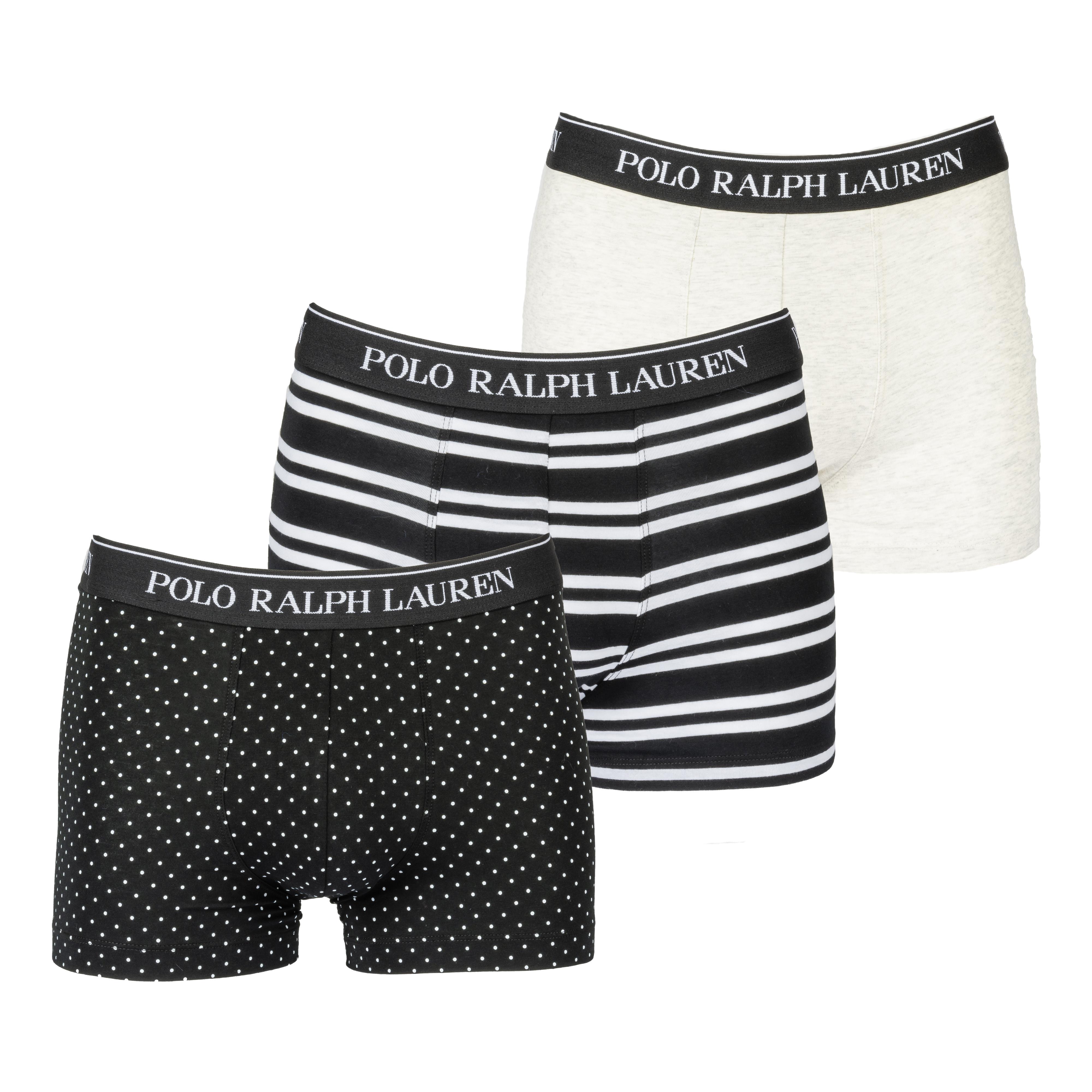 Lot de 3 boxers  en coton stretch noir à poids blancs, noir rayé et gris chiné