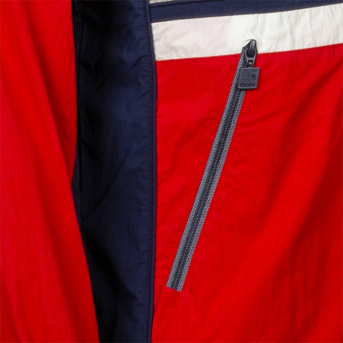 Veste coupe vent Superdry Summer House en coton mélangé colorblock gris, rouge, blanc, et bleu marine | Rue Des Hommes