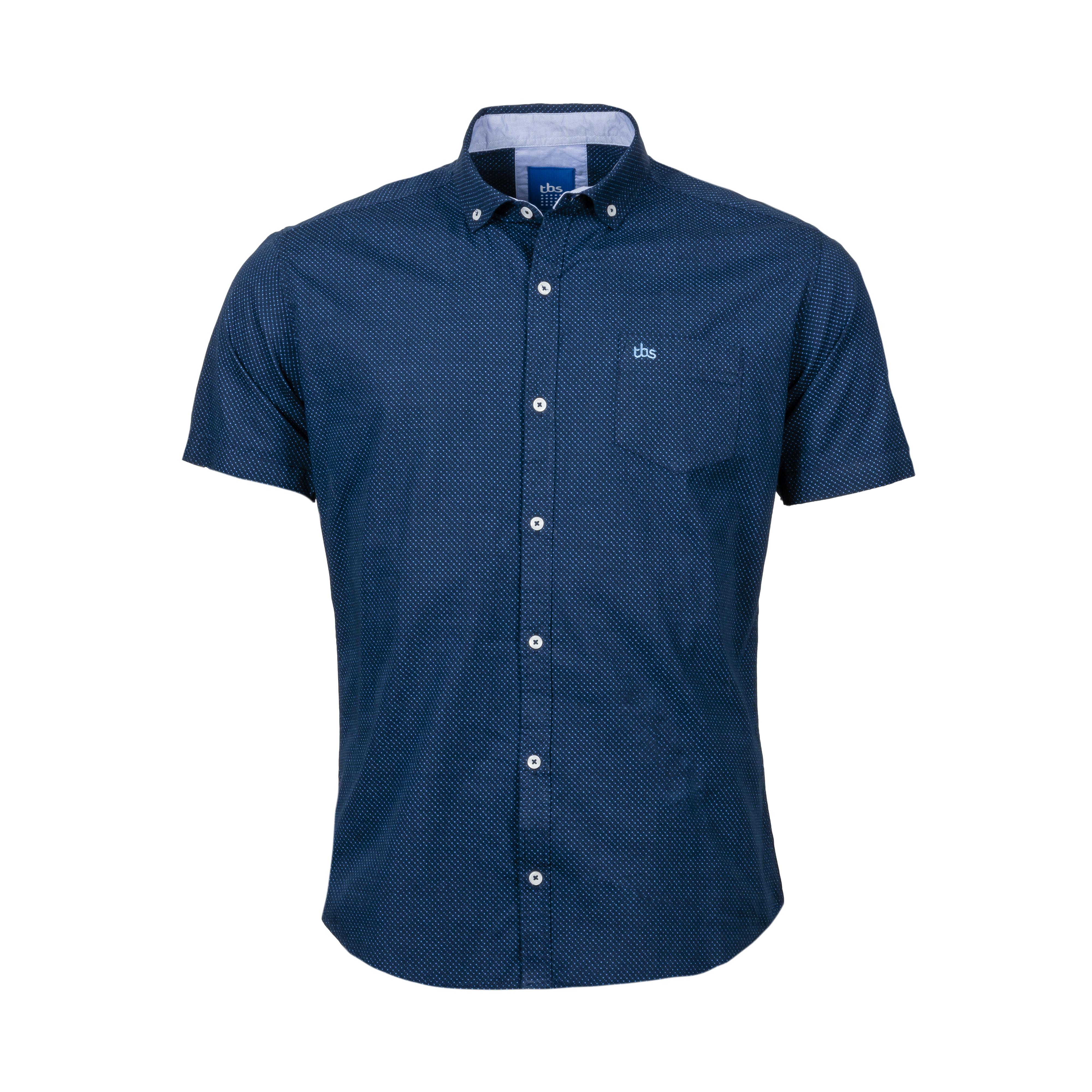 Chemise ajustée manches courtes  caverne en coton bleu marine à micro motifs bleu ciel