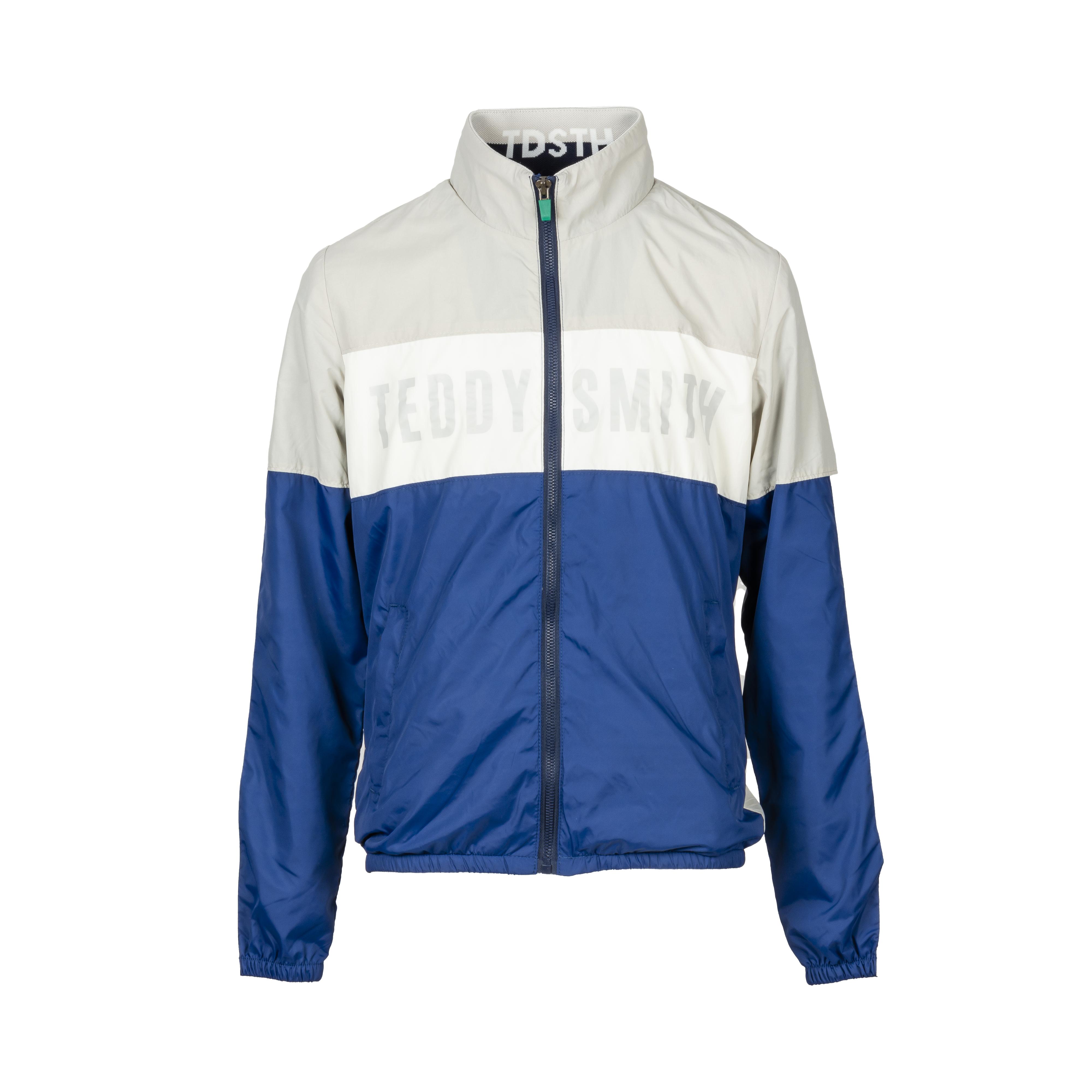 Veste coupe-vent à capuche  herman à opposition de couleurs bleu, blanc et gris