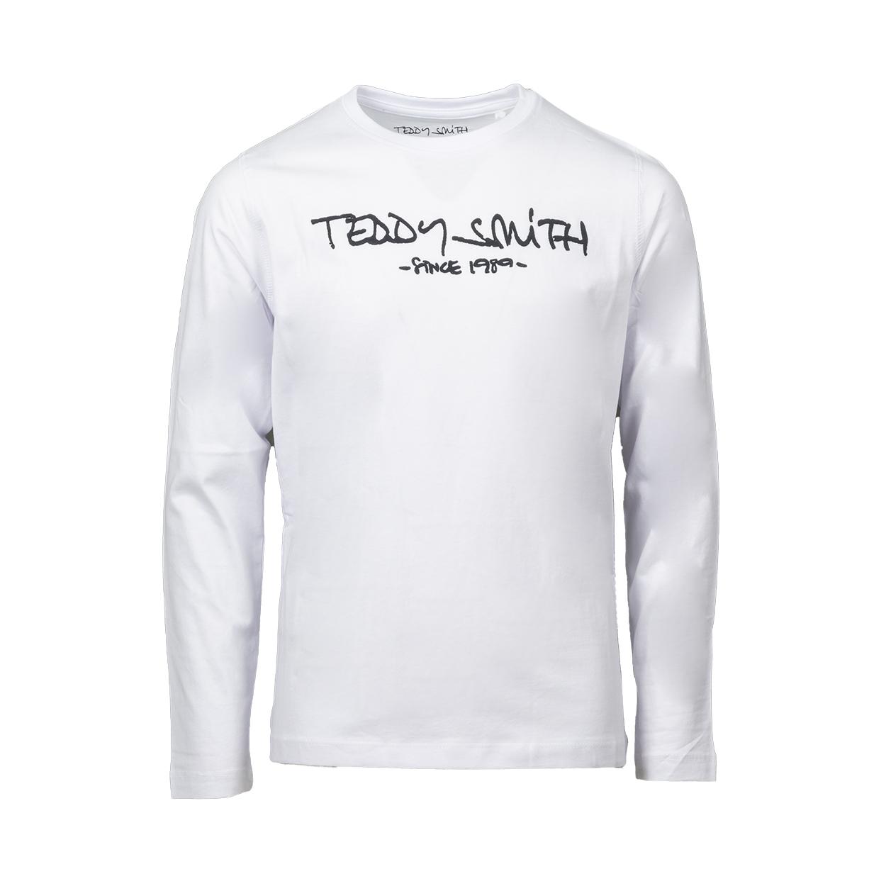 Tee-shirt manches longues Teddy Smith Junior Ticlass 3 en coton blanc floqué