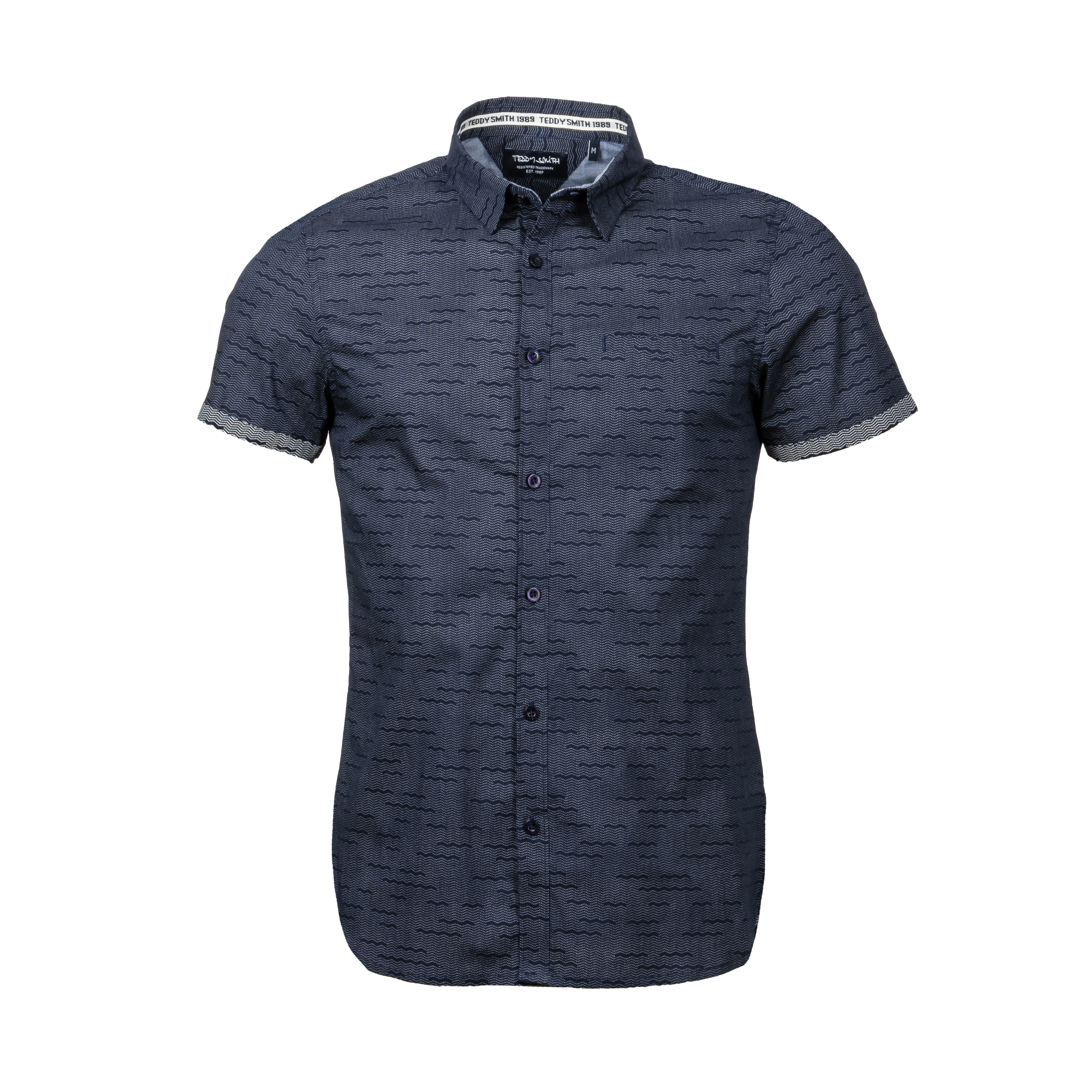Chemise manches courtes ajustée  cut en coton bleu marine à micros motifs blancs
