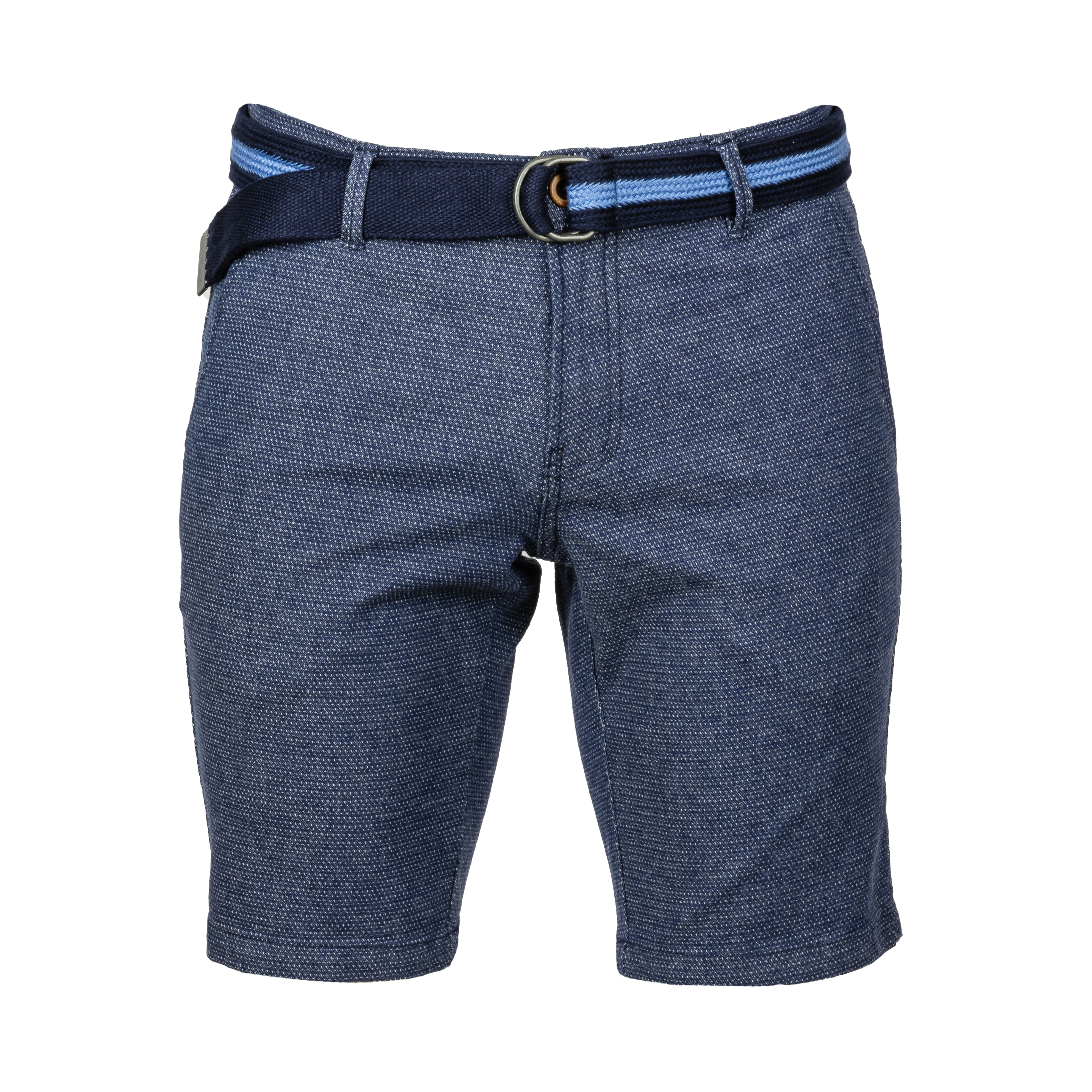 Short Teddy Smith Chino en coton stretch bleu marine à motifs blancs avec ceinture tressée