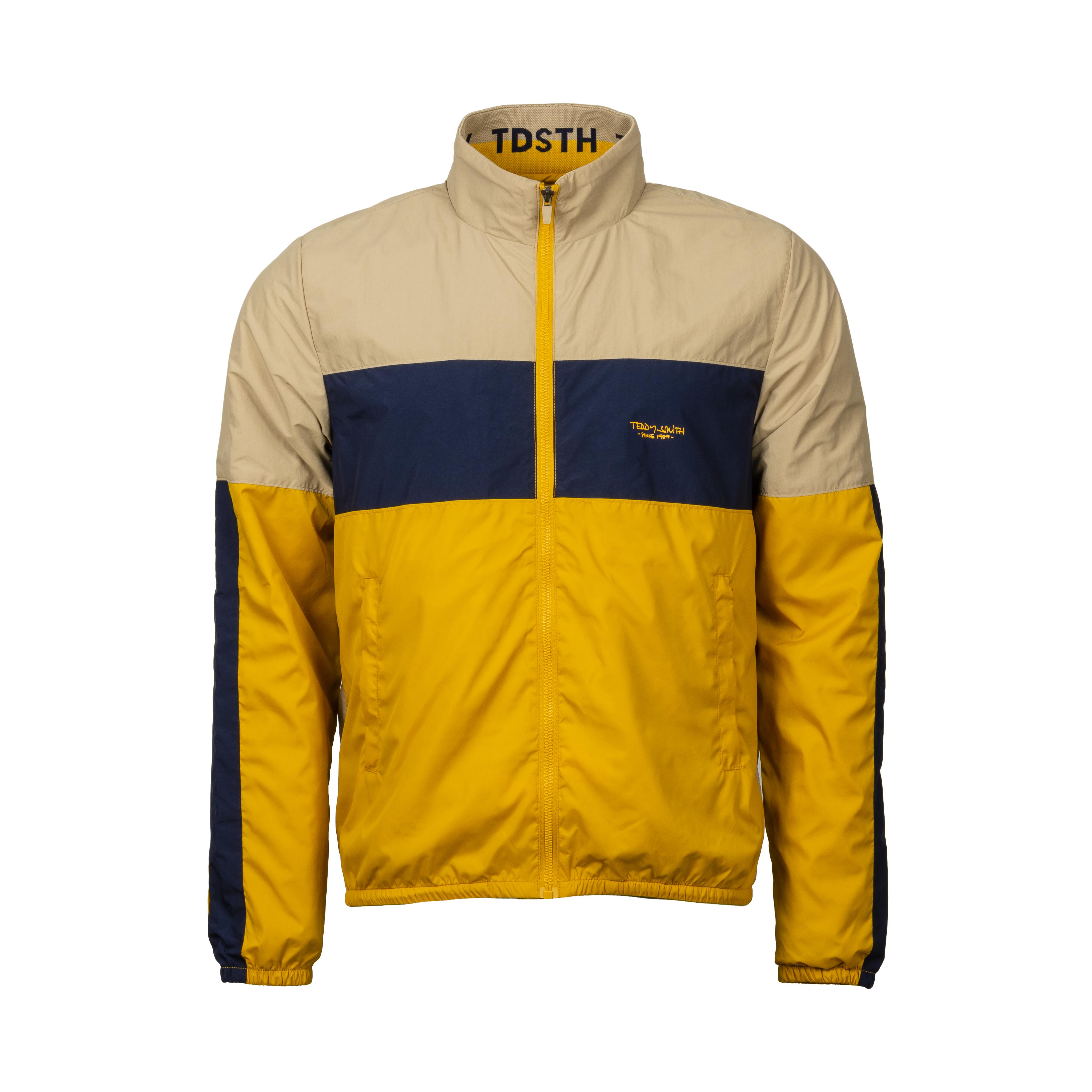 Veste coupe-vent à capuche  b-herman à opposition de couleurs beige, bleu marine et jaune