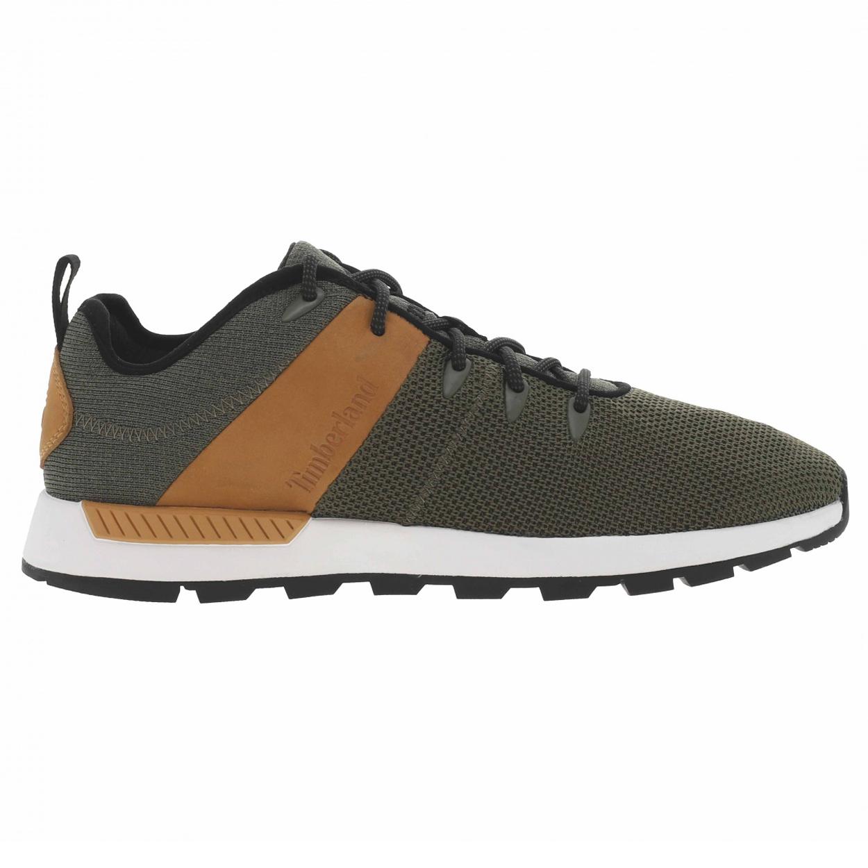 Chaussures mi-hautes  sprint trekker en toile kaki et cuir camel