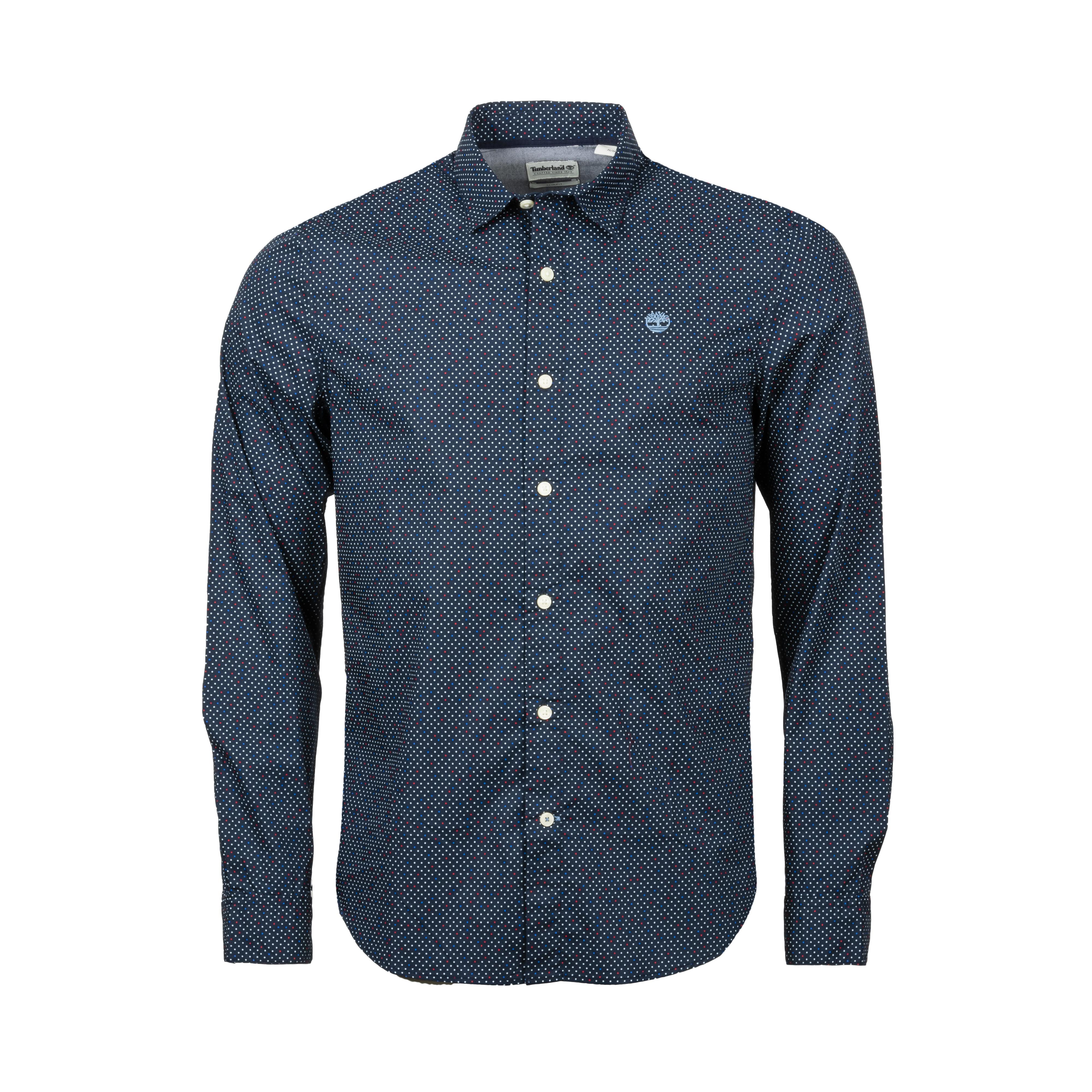 Chemise coupe cintrée  multi dot en coton stretch bleu marine à micro motifs