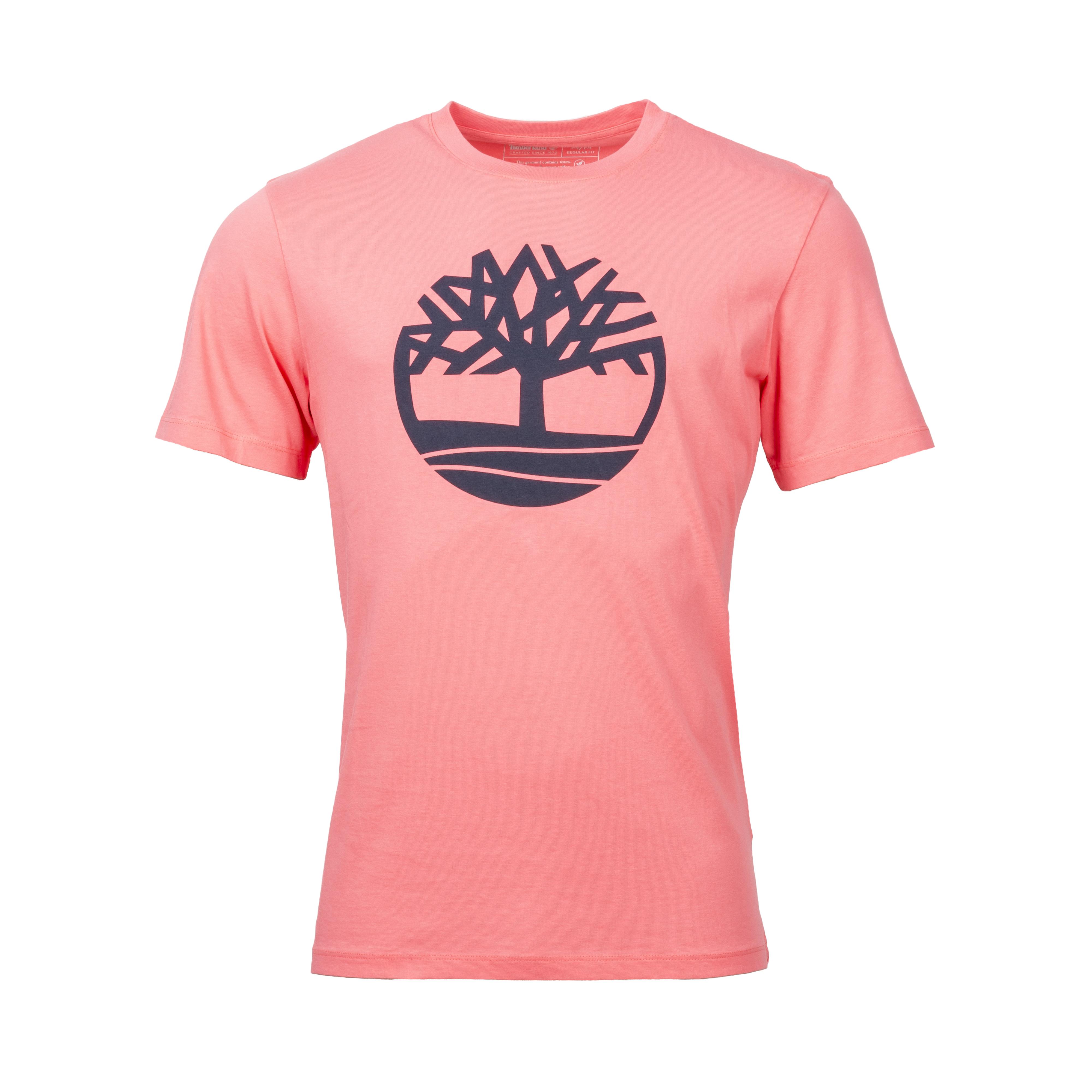 Tee-shirt col rond  en coton rose floqué en noir