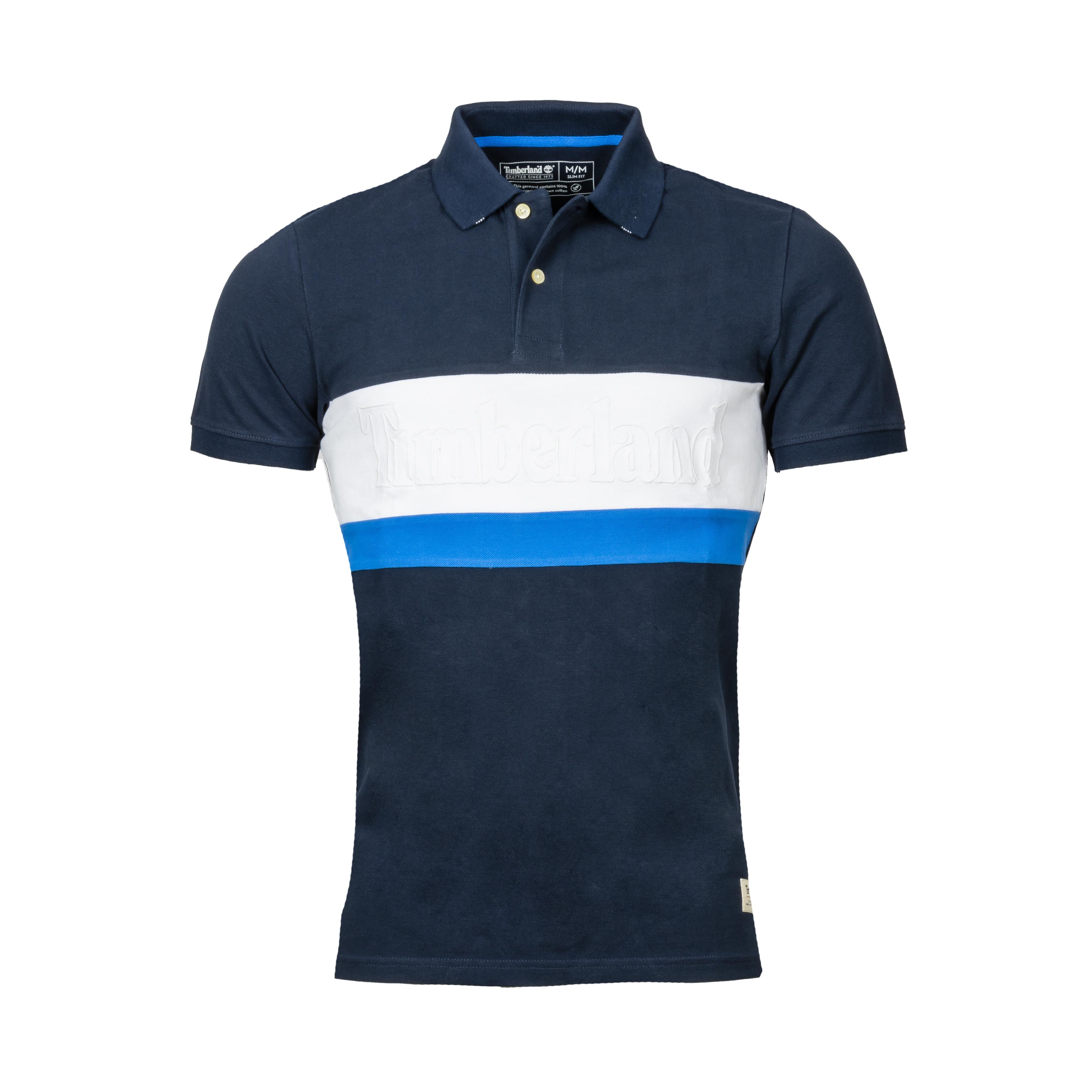 Polo  en coton piqué colorblock bleu nuit et blanc