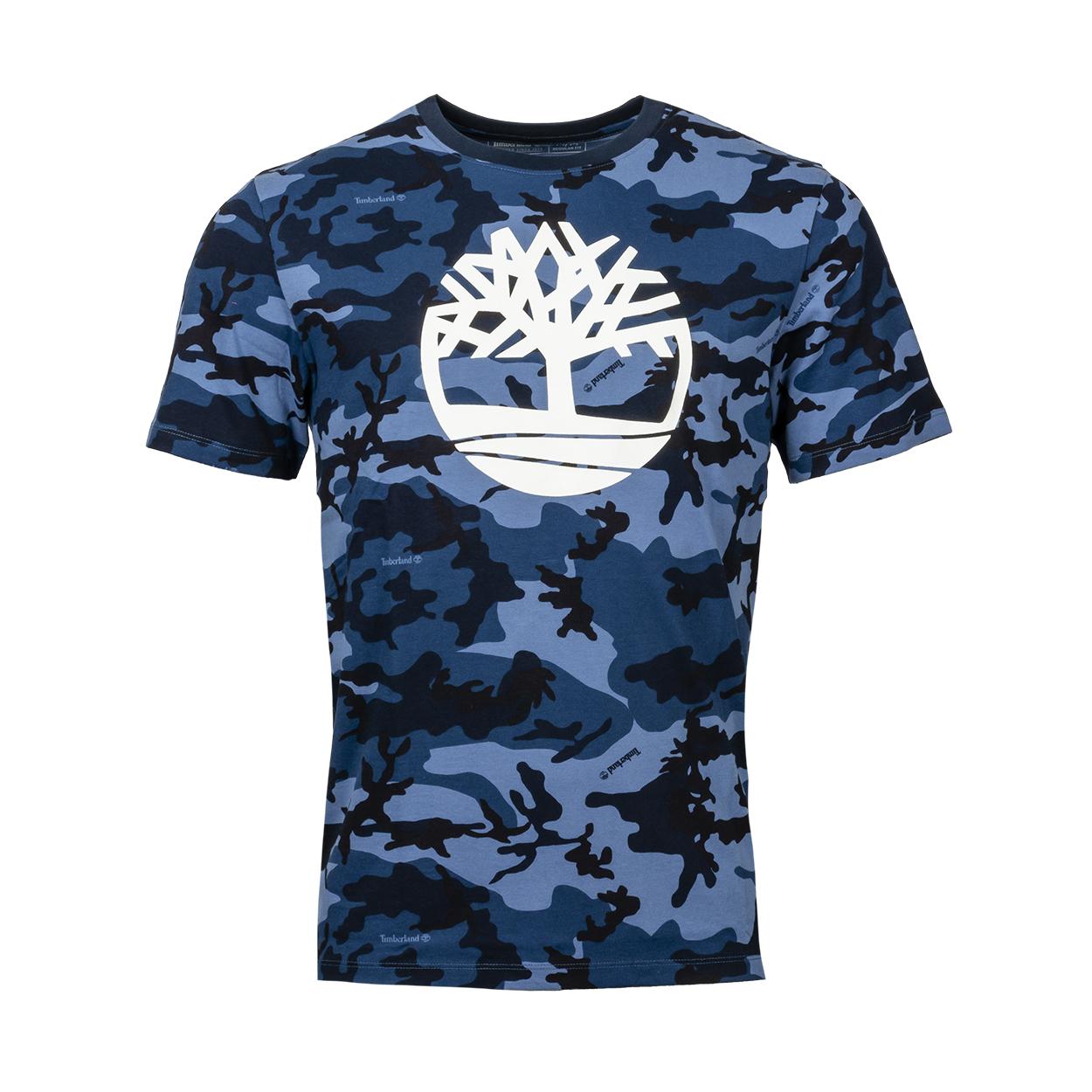Tee-shirt col rond  en coton à camouflage bleu floqué blanc