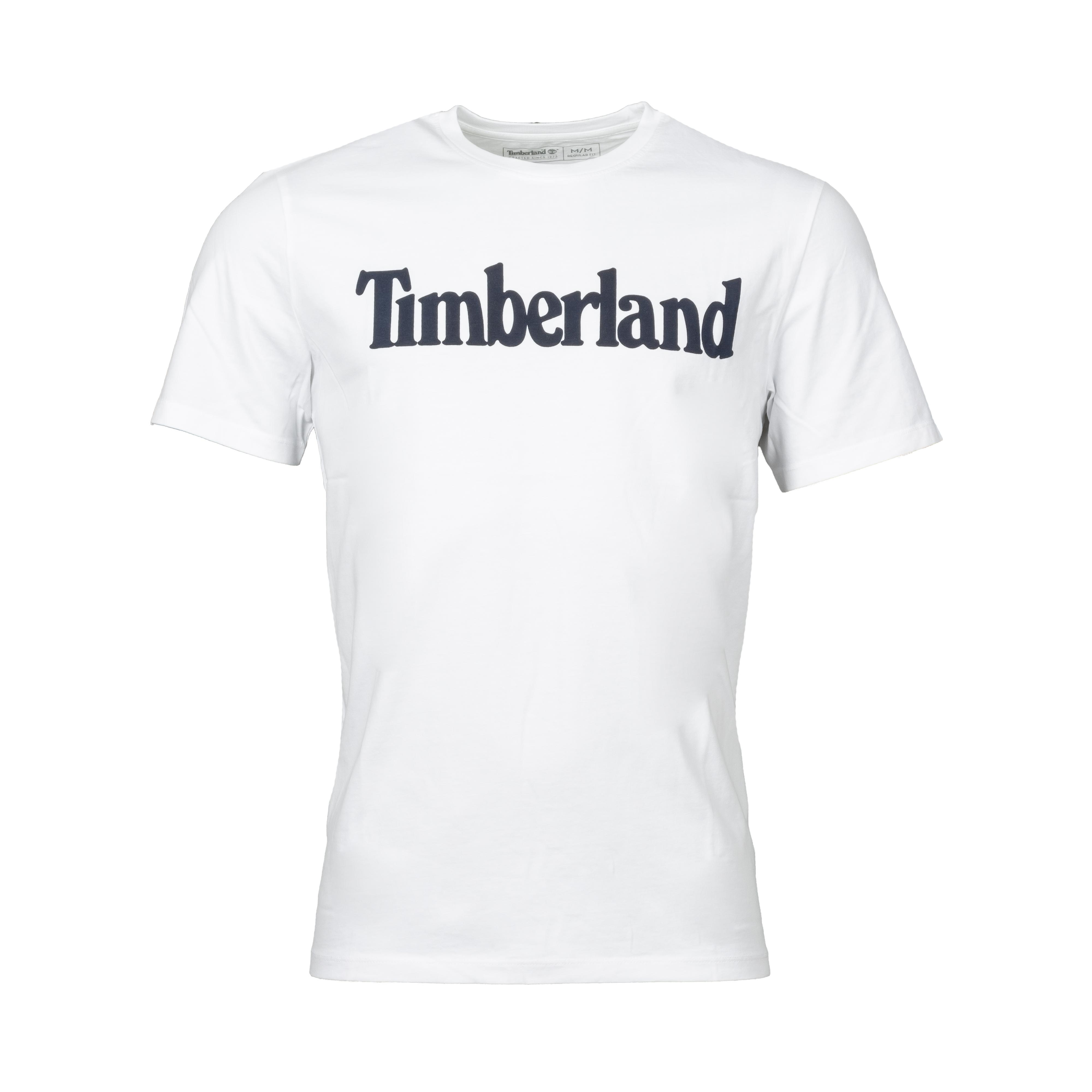 Tee-shirt col rond  en coton blanc à logo noir