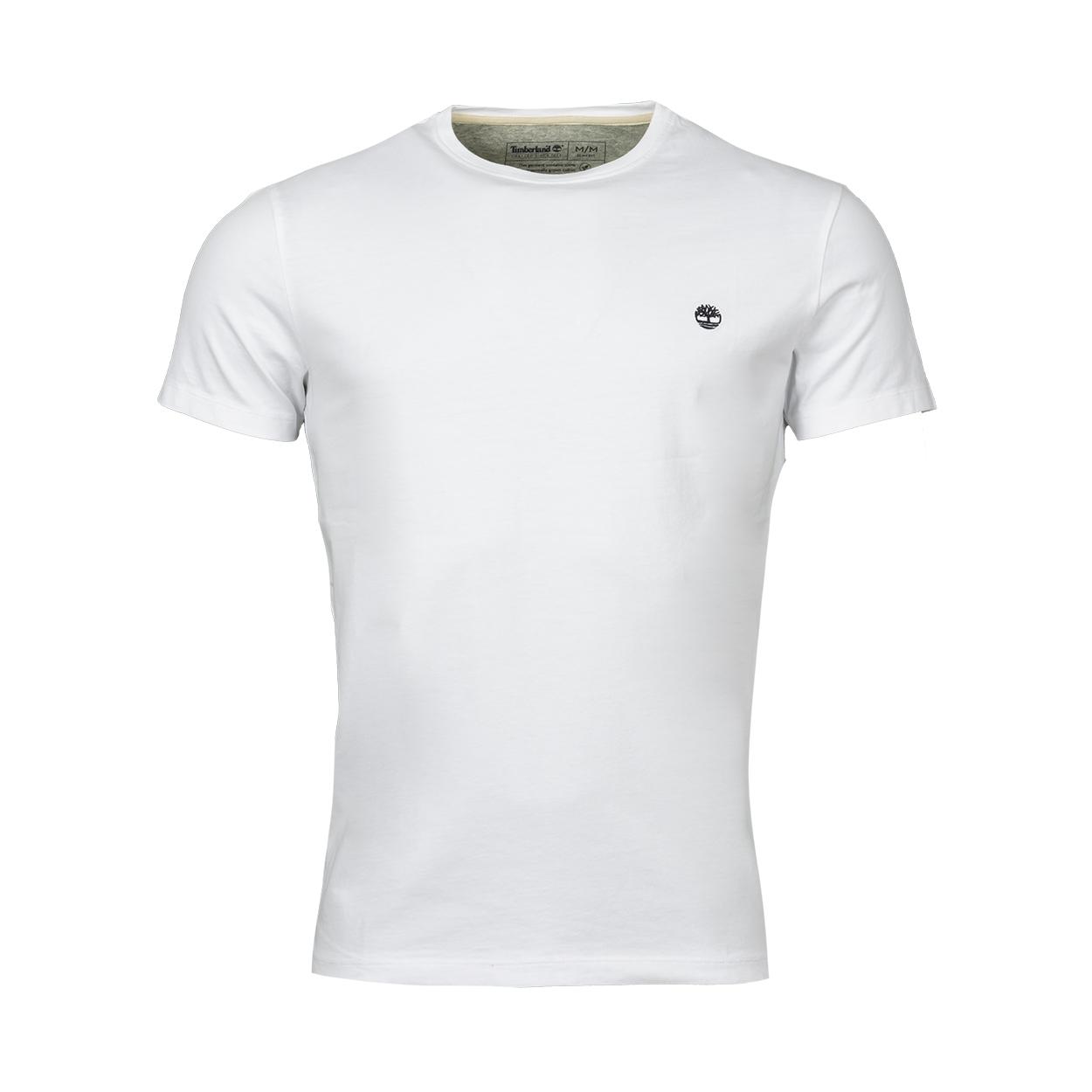 Tee-shirt col rond  en coton blanc brodé