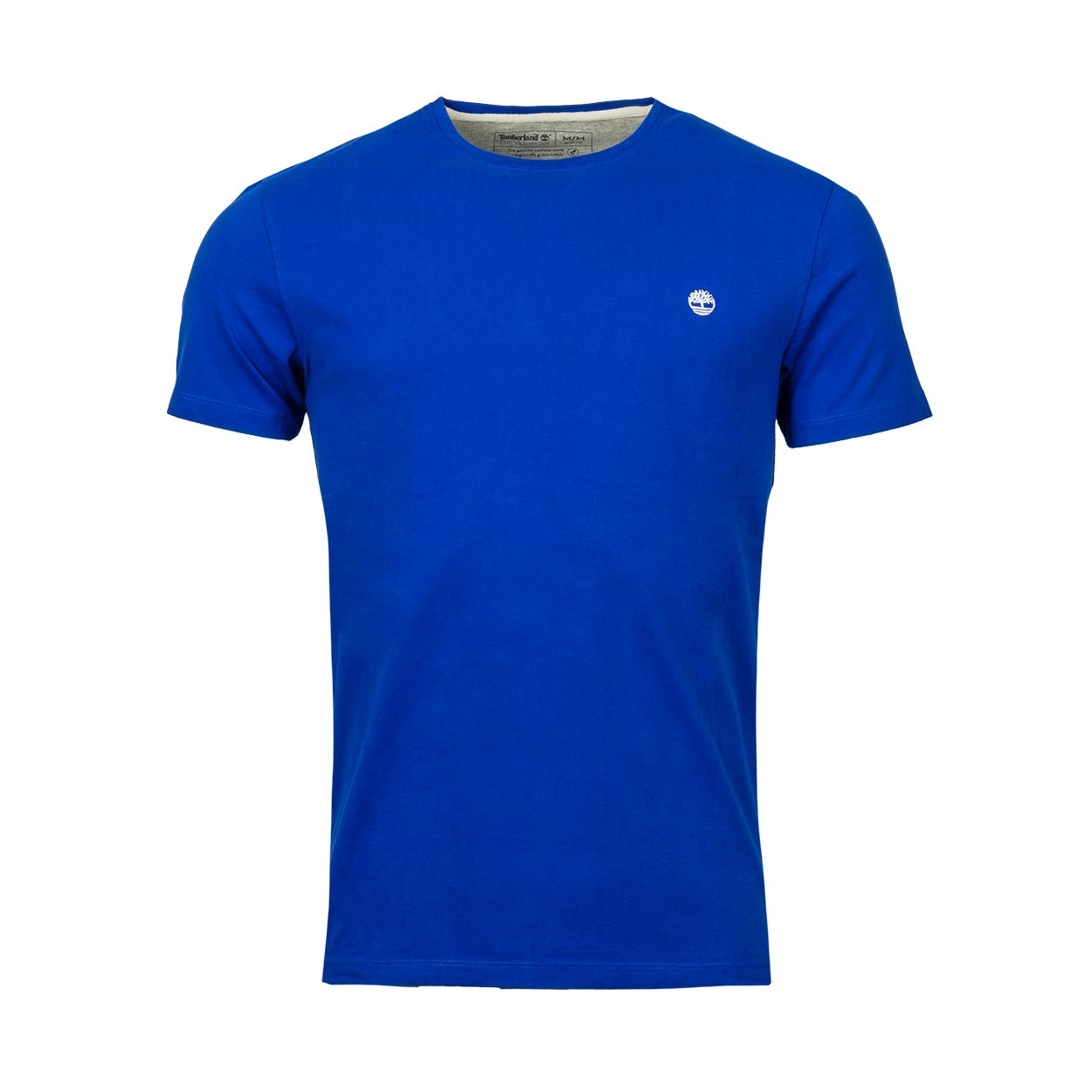 Tee-shirt col rond  en coton bleu brodé