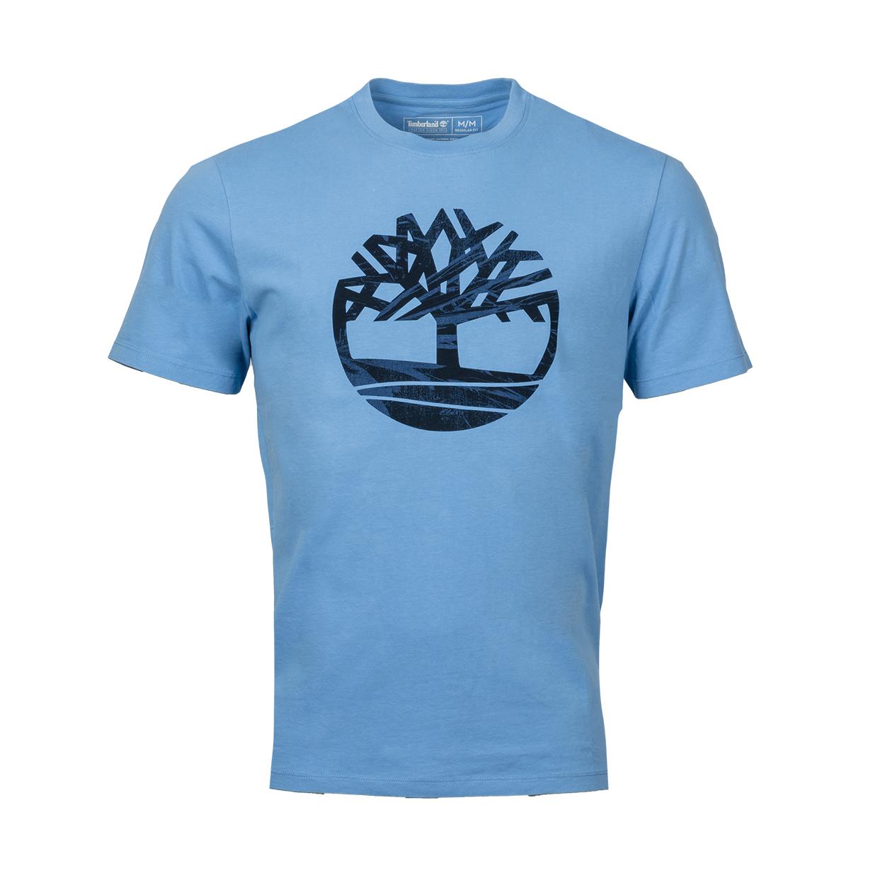 Tee-shirt col rond  en coton bleu ciel floqué bleu marine