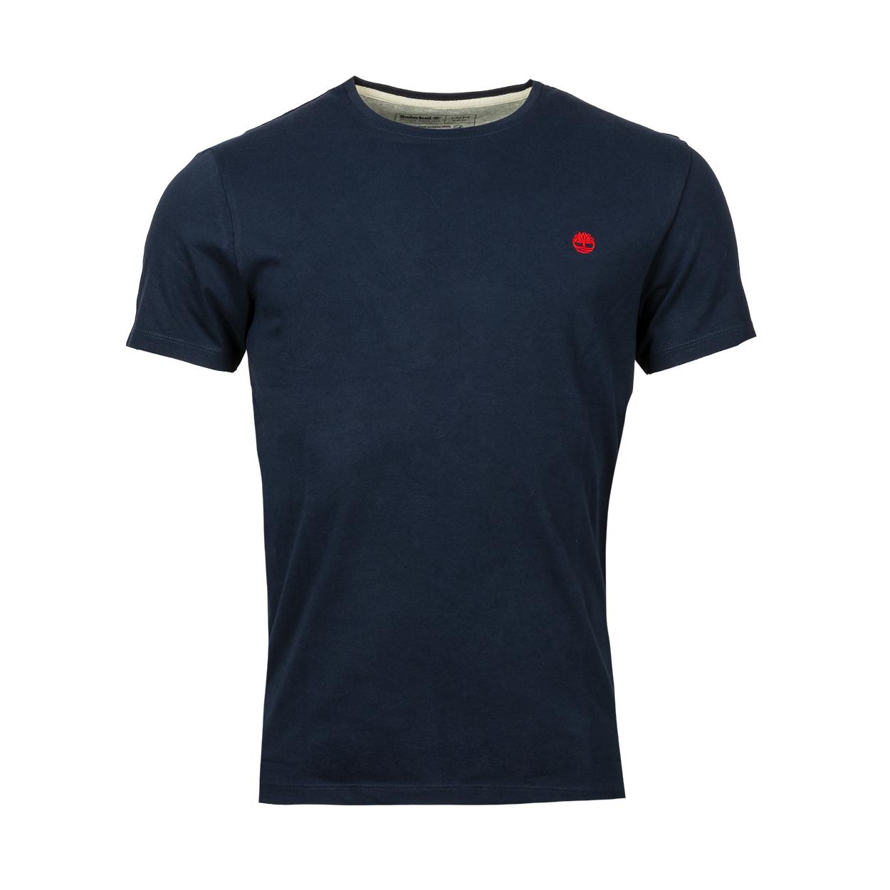 Tee-shirt col rond  en coton bleu nuit brodé