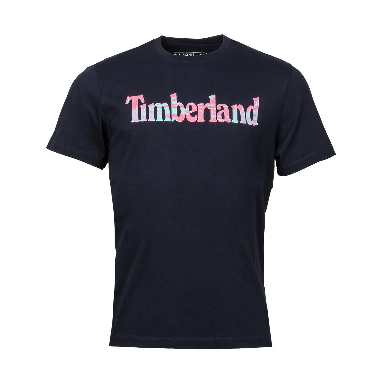 Tee-shirt col rond  en coton bleu nuit floqué floqué en rose et bleu turquoise