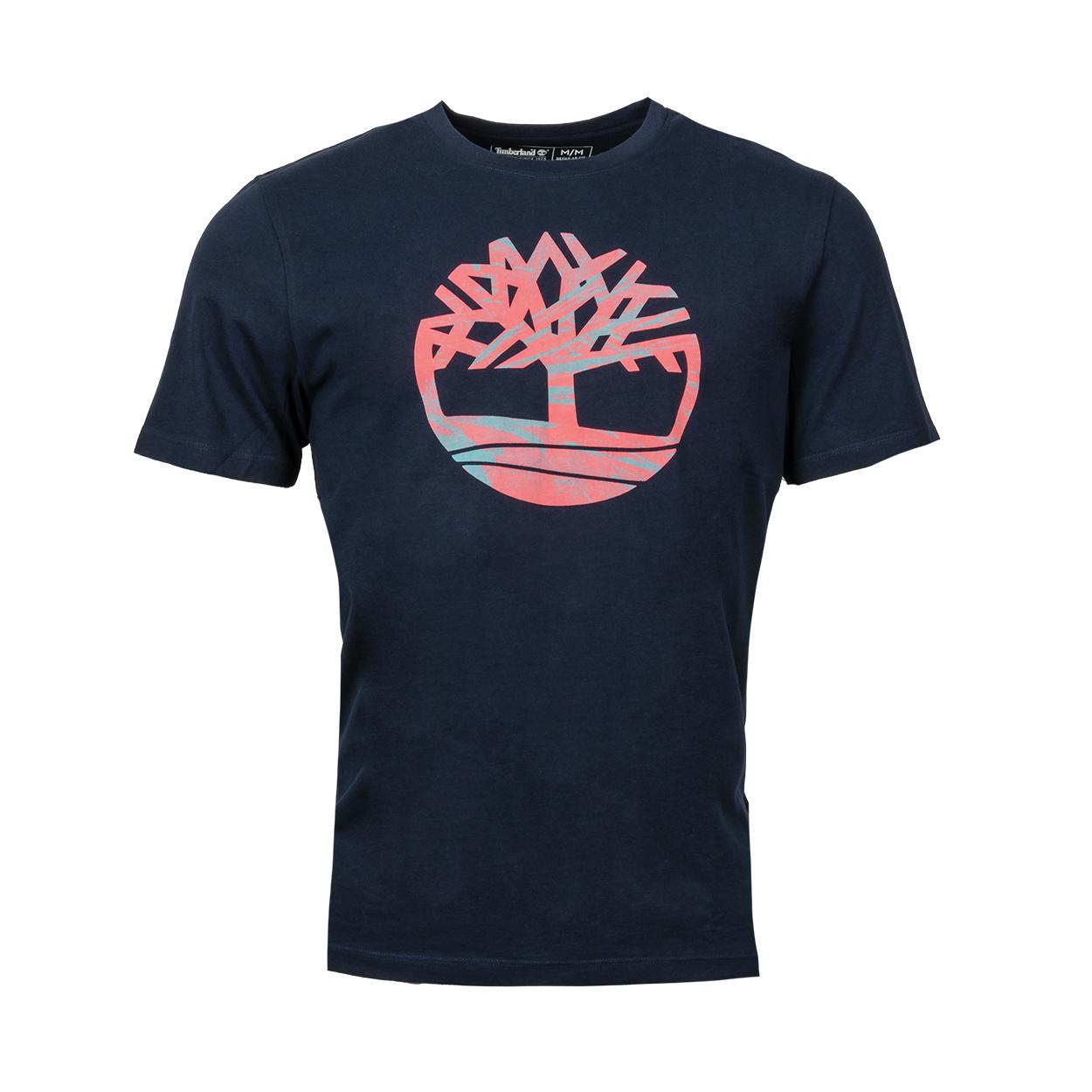Tee-shirt col rond  en coton bleu nuit floqué rose et bleu turquoise