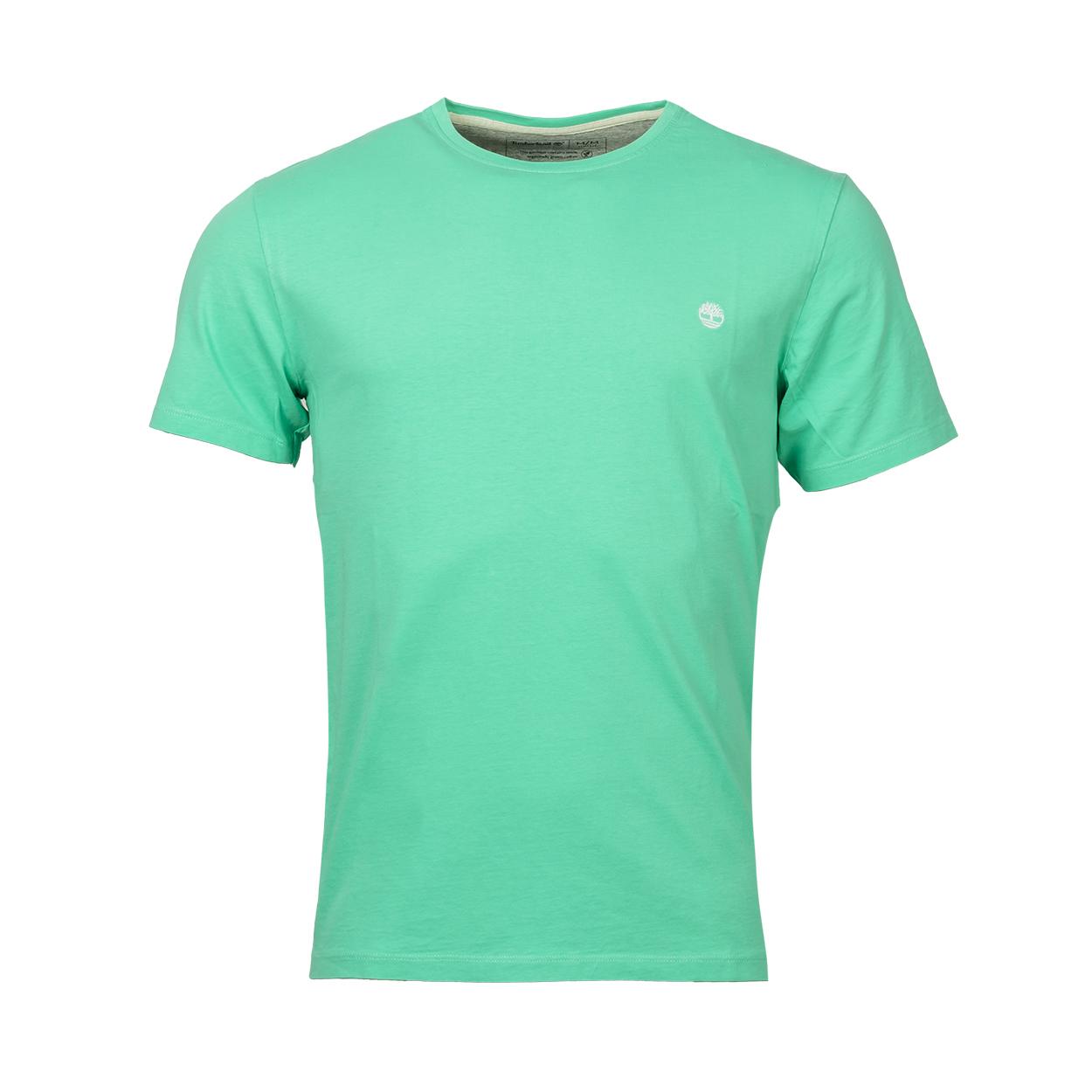 Tee-shirt col rond  en coton vert d\'eau brodé