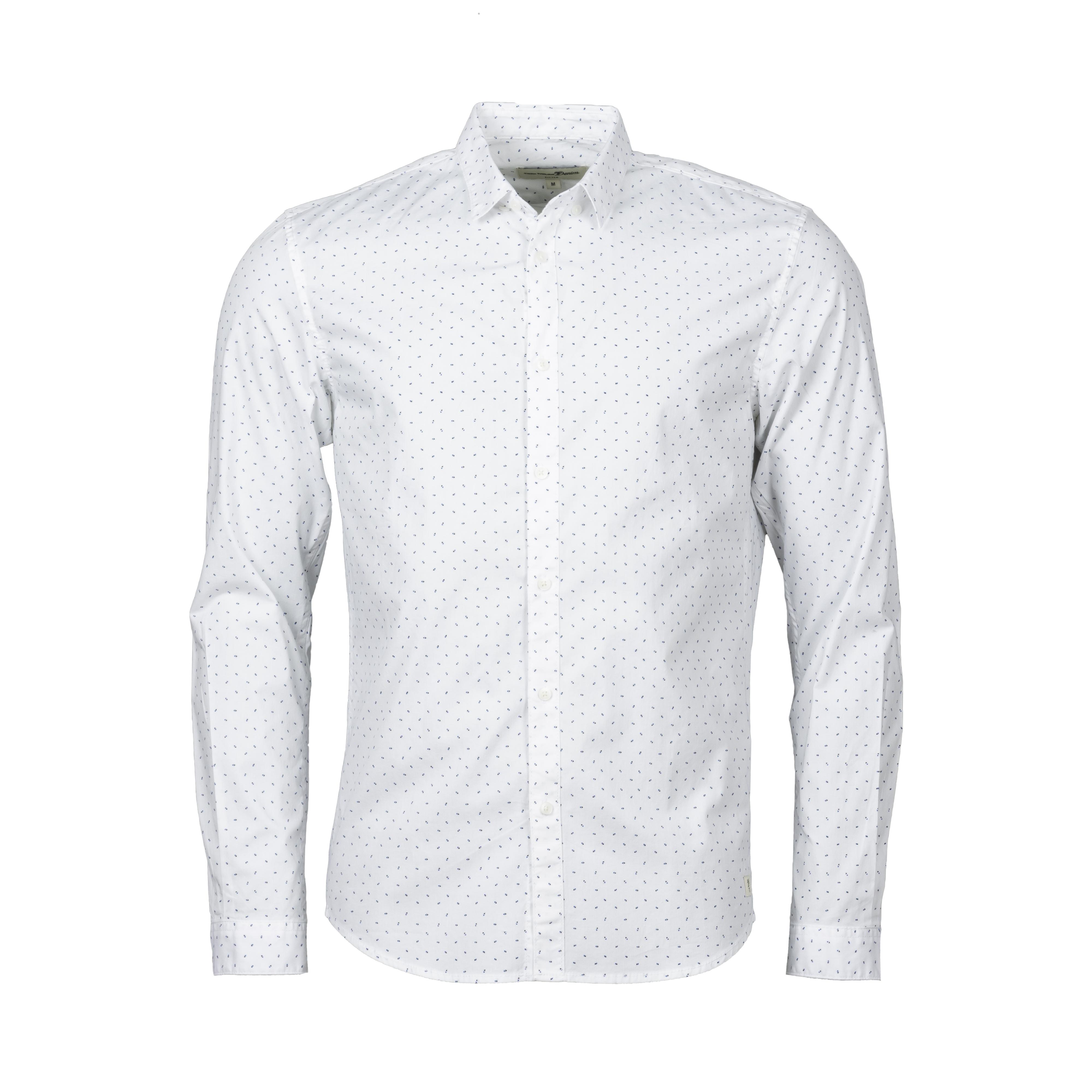 Chemise ajustée  en coton stretch blanc à micro motifs bleu marine