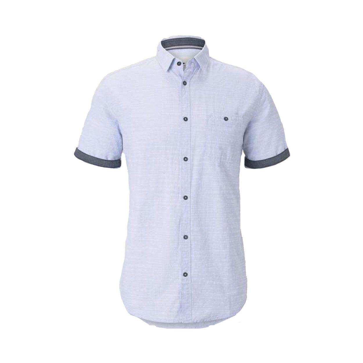Chemise ajustée manches courtes  en coton bleu ciel à micros motifs blancs