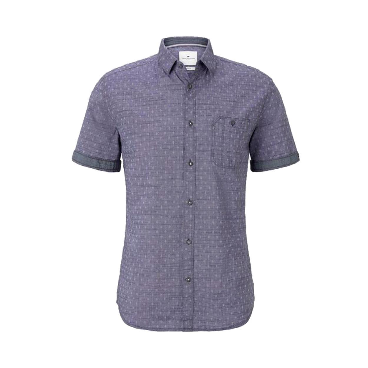 Chemise ajustée manches courtes  en coton bleu indigo à micros motifs blancs