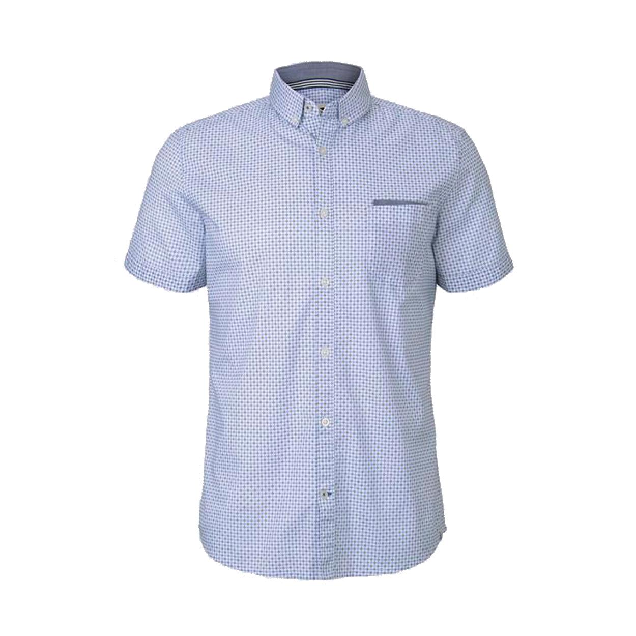 Chemise ajustée manches courtes  en coton stretch blanc à micros motifs bleu ciel et noirs