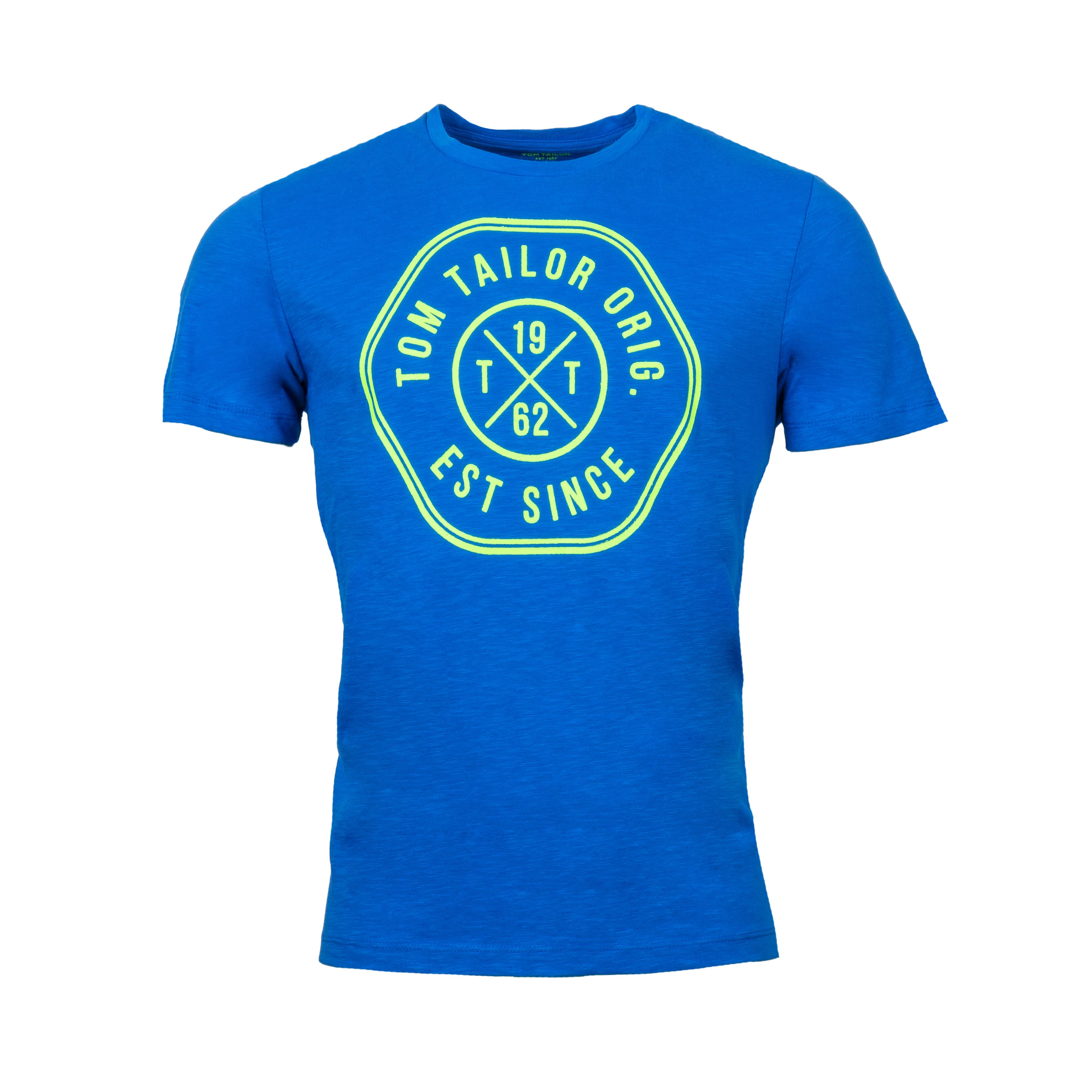 Tee-shirt  en coton bleu floqué vert fluo