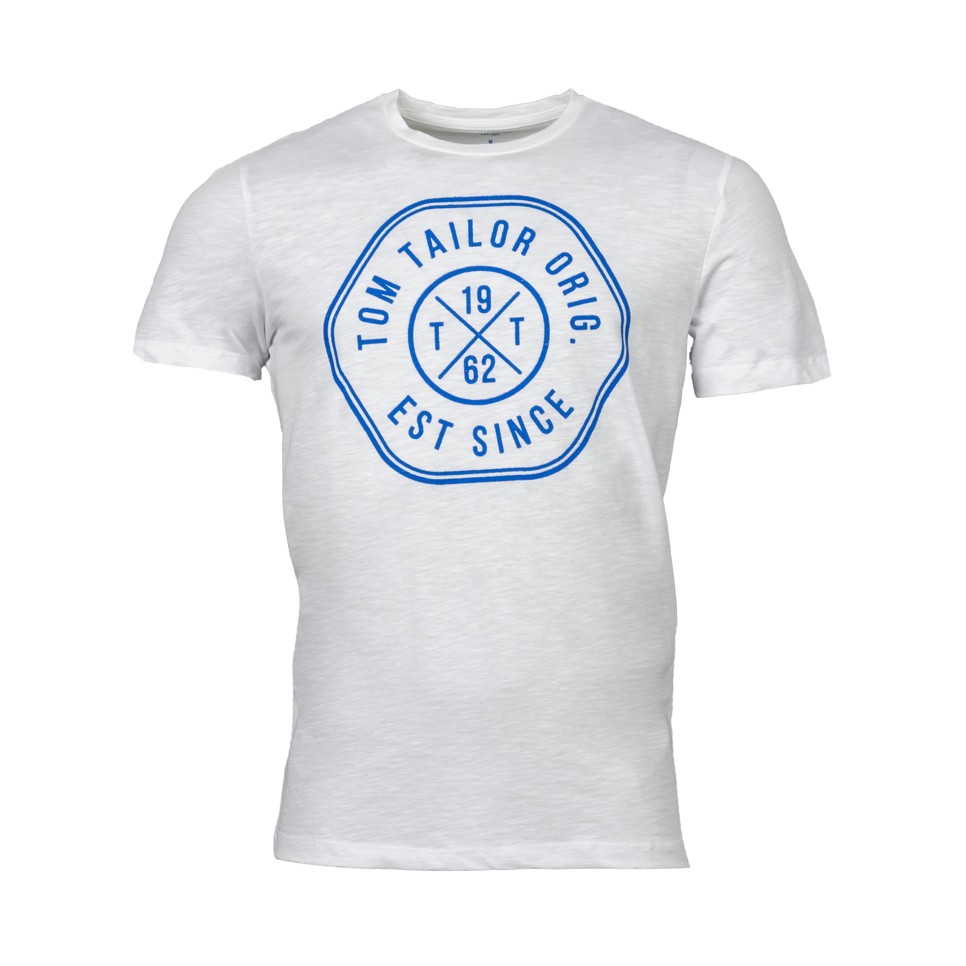 Tee-shirt  en coton blanc floqué bleu