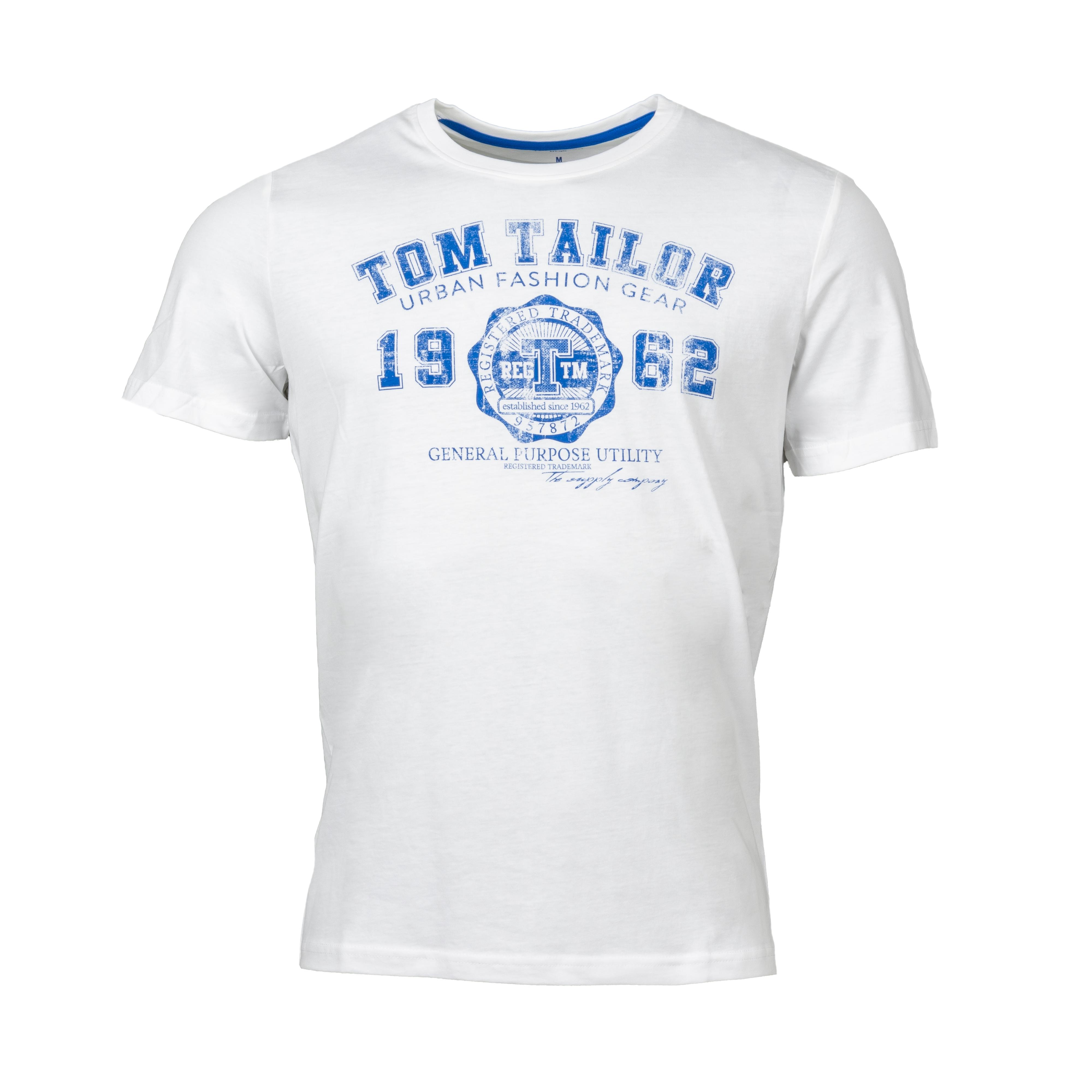 Tee-shirt  en coton blanc floqué bleu turquoise
