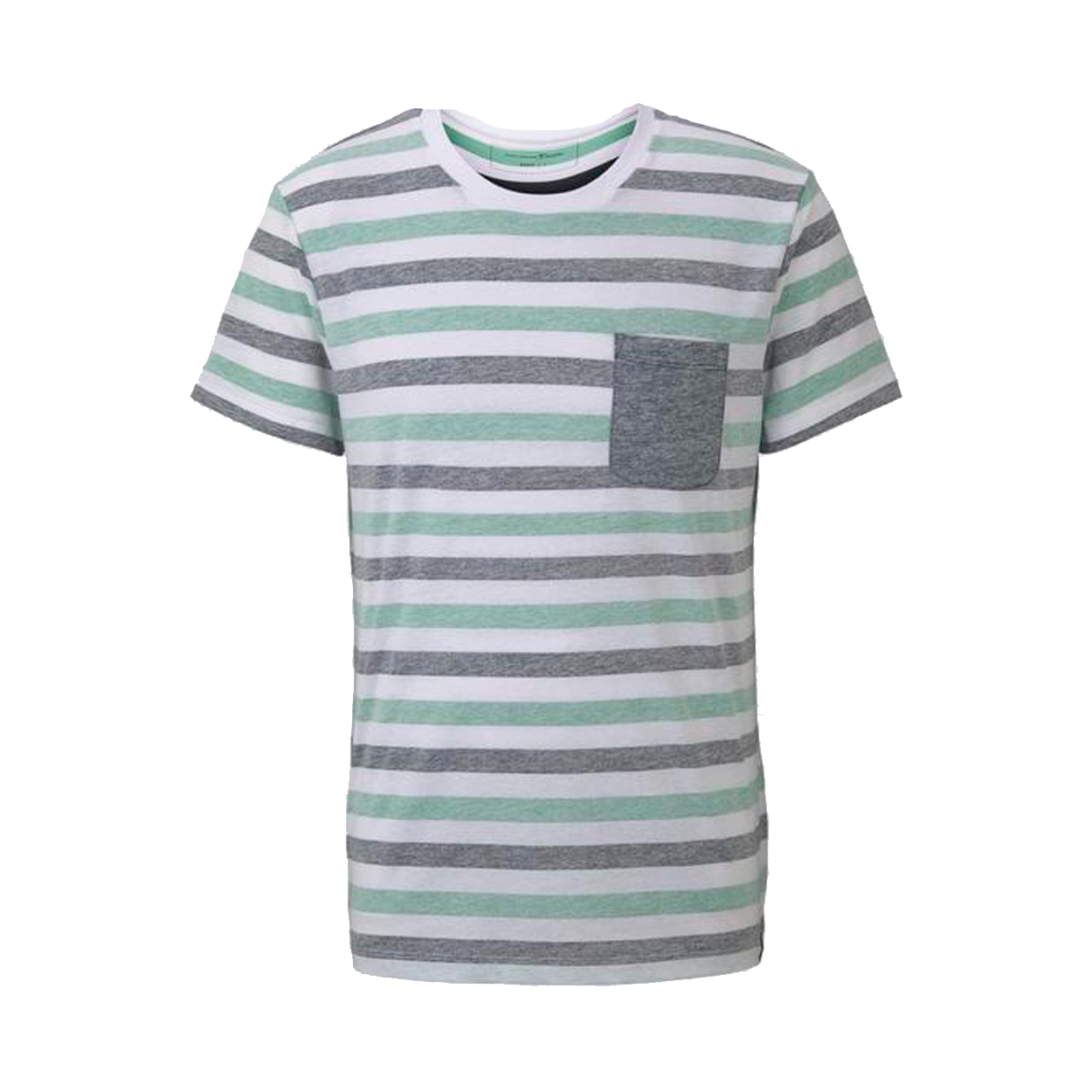 Tee-shirt col rond  en coton blanc à bandes bleues et vertes