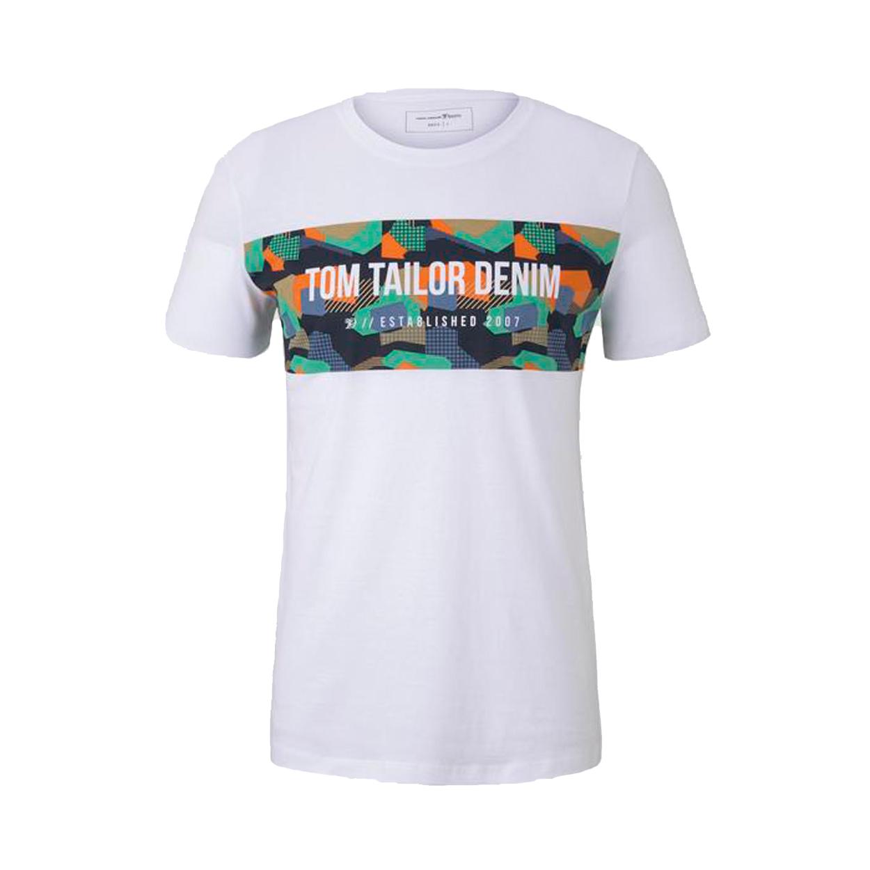 Tee-shirt col rond  en coton blanc à flocage poitrine multicolore