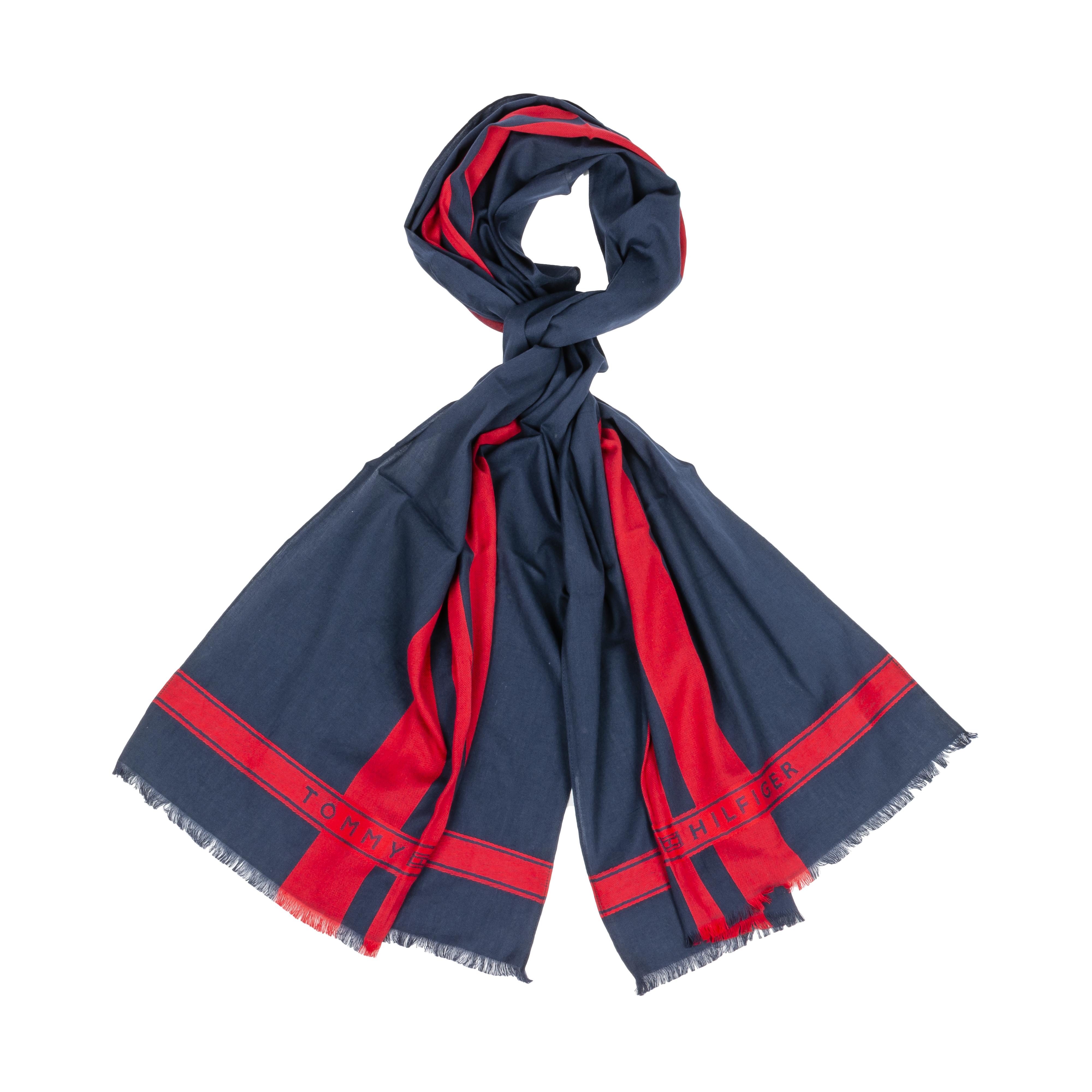 Foulard tommy hilfiger en coton bleu marine à bandes rouges