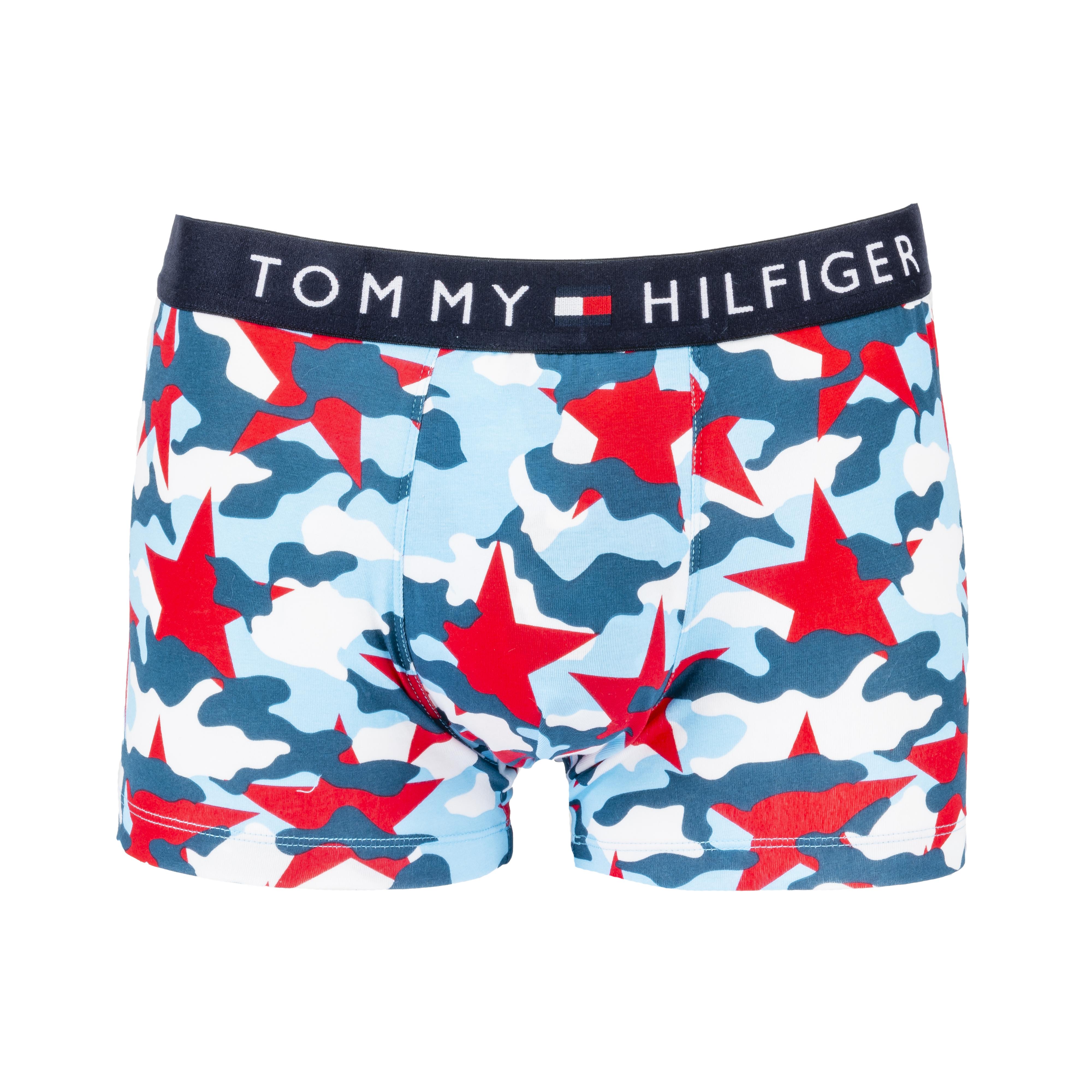 Boxer tommy hilfiger truck en coton stretch à camouflage bleu ciel, bleu marine et rouge