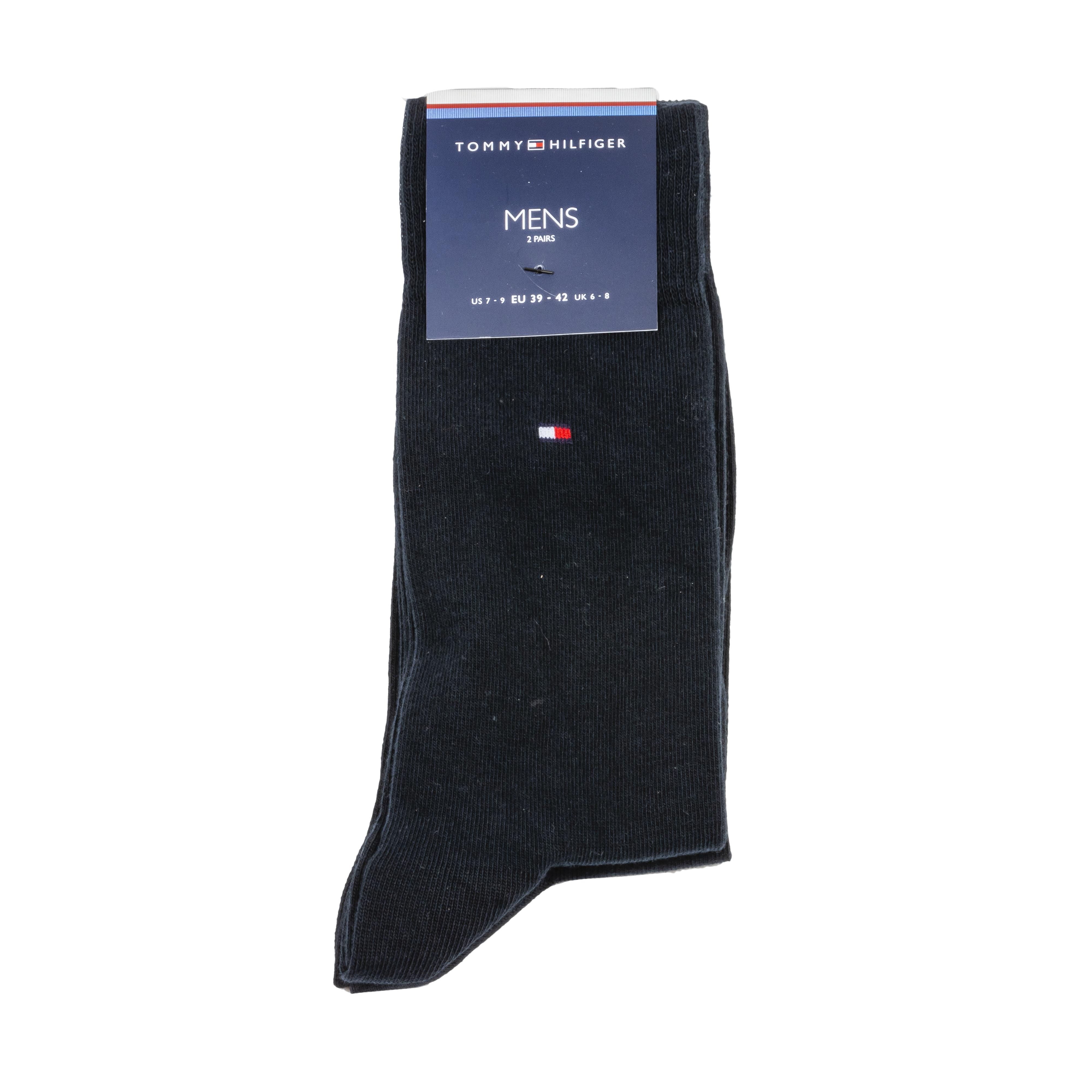 Lot de 2 paires de chaussettes hautes tommy hilfiger classic en coton mélangé stretch bleu marine