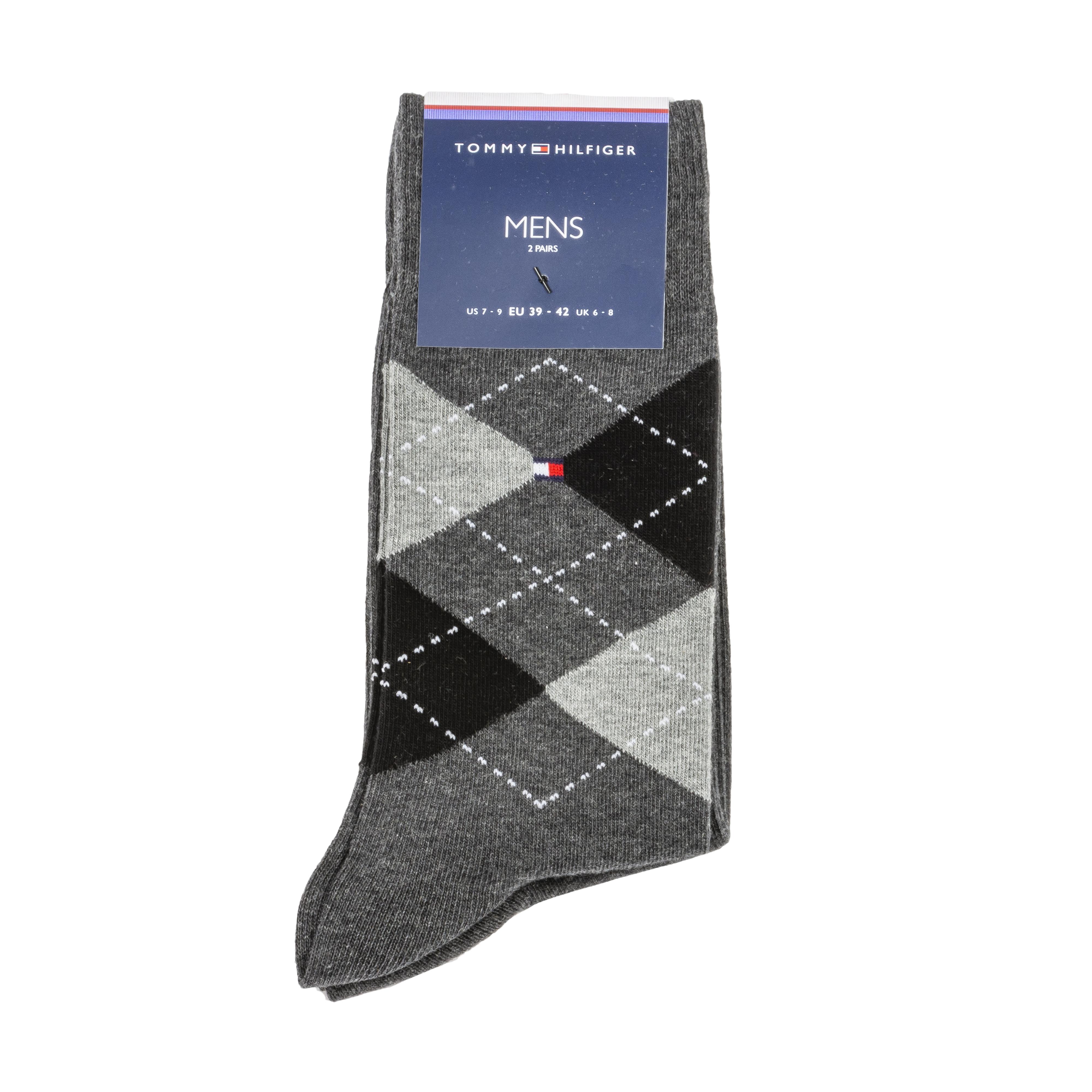 Lot de 2 paires de chaussettes hautes tommy hilfiger sock check en coton mélangé stretch : gris anthracite et gris à carreaux