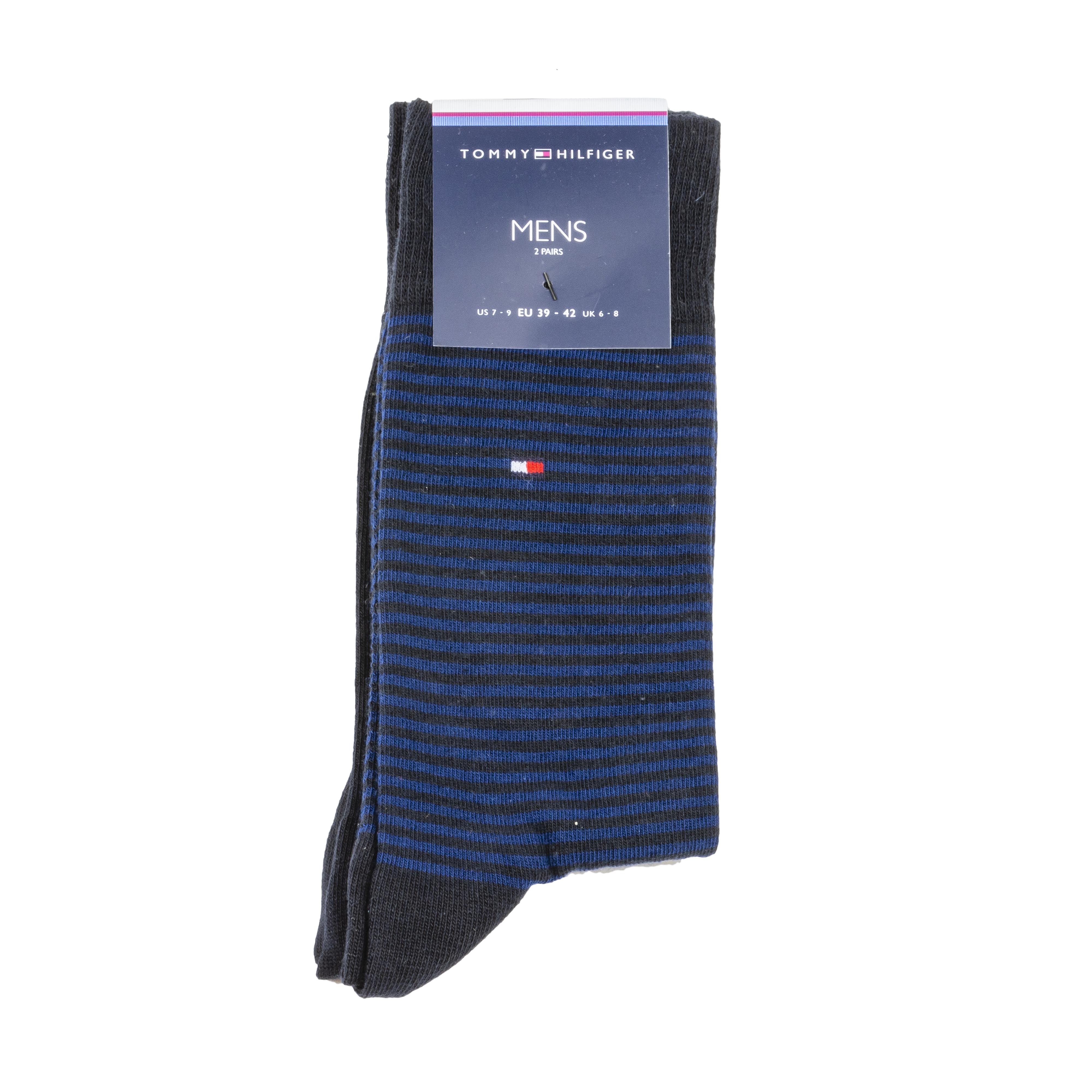 Lot de 2 paires de chaussettes hautes tommy hilfiger small stripe en coton mélangé stretch noir et noir à rayures bleues